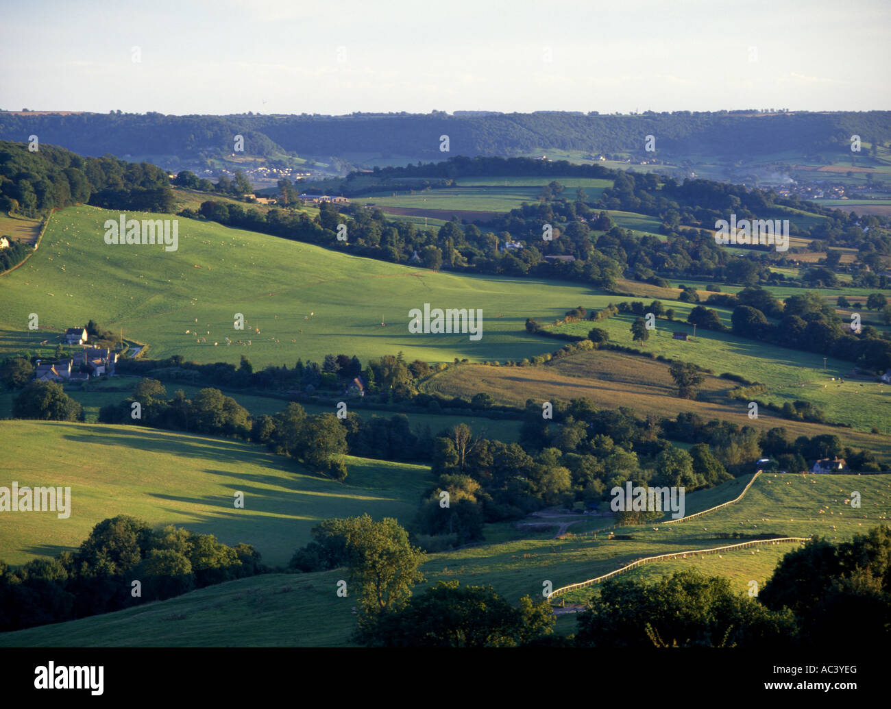 The view from Haresfield Beacon near Stroud Gloucesetershire Stock Photo