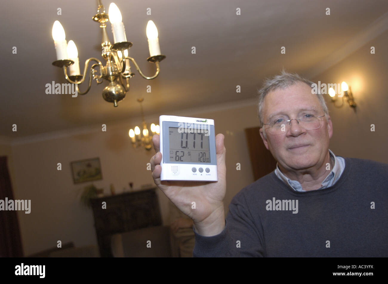 A smart meter shows the amount of energy used in one room illuminated by tungsten light bulbs - 3/4 of a kilowatt - Stock Image
