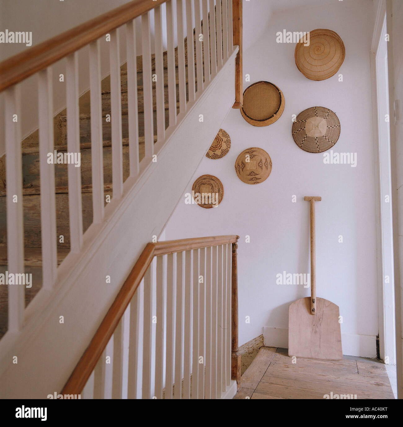 Staircase and landing with shovel in 18th century English  townhouse restoration - Stock Image