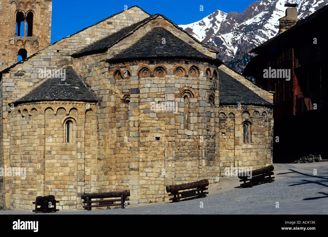 Santa Maria de Taüll. Romanesque church (s. XII). Taüll. Alta Ribagorça. Lleida. Spain - Stock Image