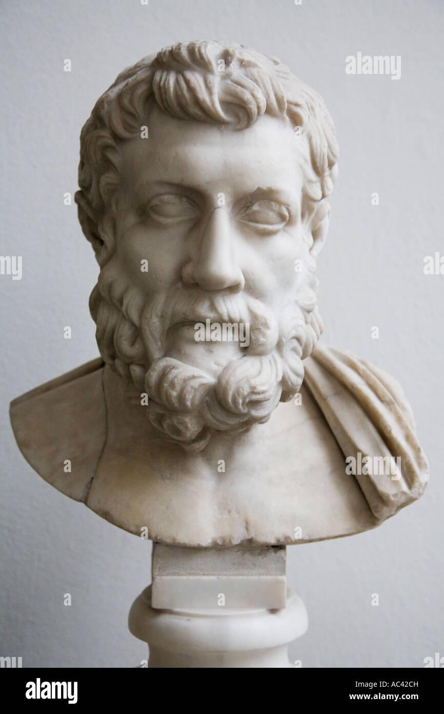 Bust of the philosopher Metrodor 331/ 330 to 278/ 277 B C Marble Roman Copy, Pergamon Museum, Berlin, Germany - Stock Image