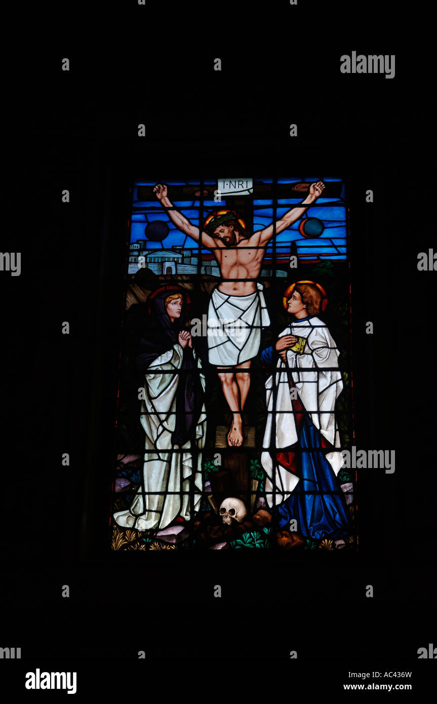 Stained Glass Window Worcester College Chapel Oxford University England UK - Stock Image