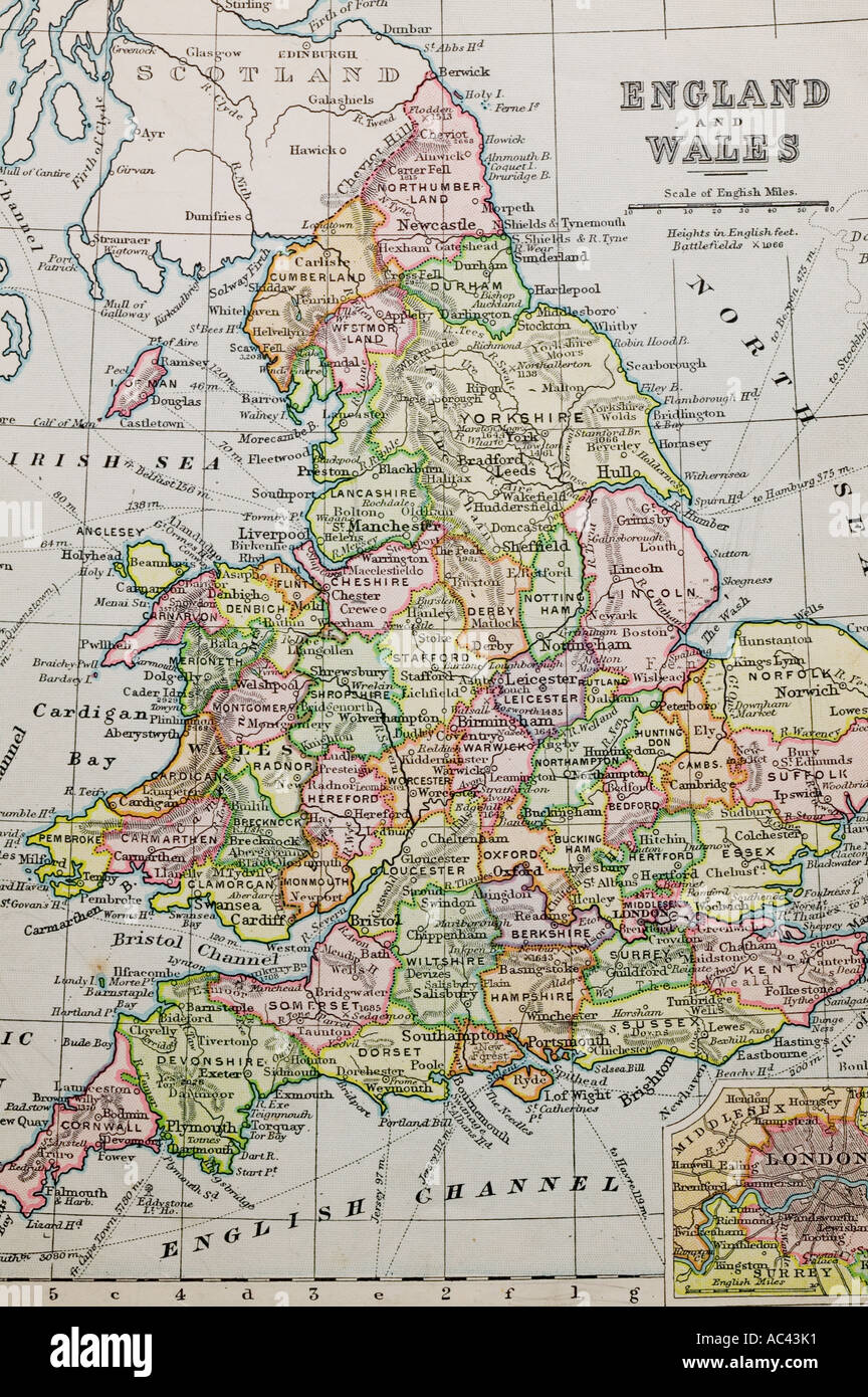 An Old 100 Year Old Map Of England Showing County Boundaries Stock