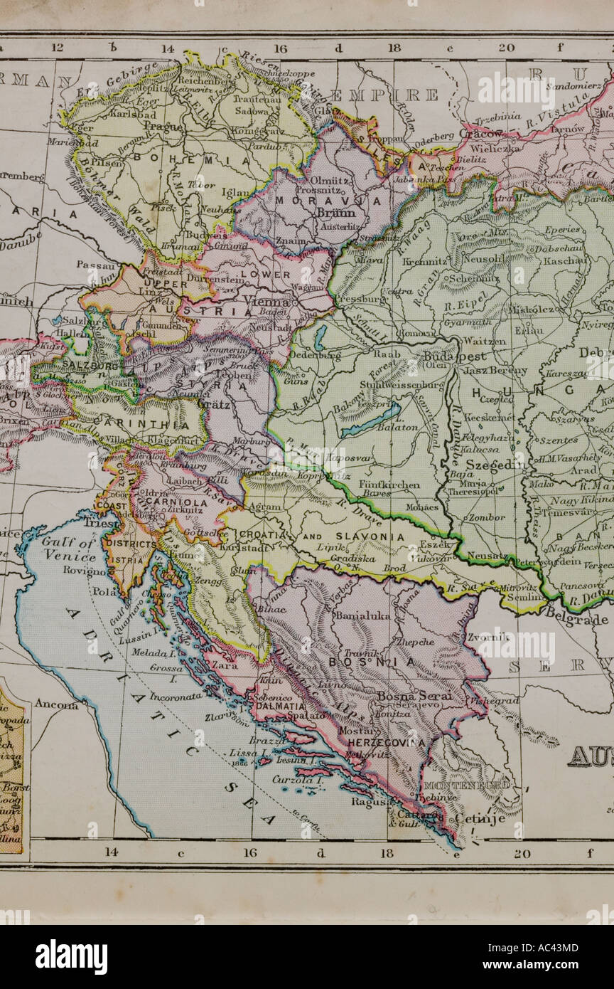 a 100 year old map of the adriatic  showing old boundaries - Stock Image