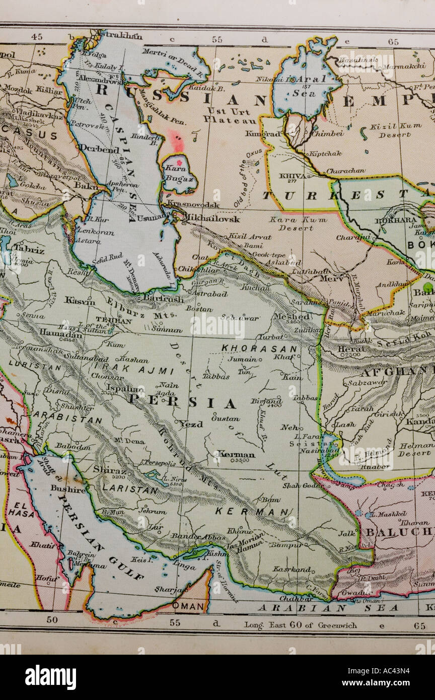 a 100 year old map of Persia  showing old boundaries Stock Photo