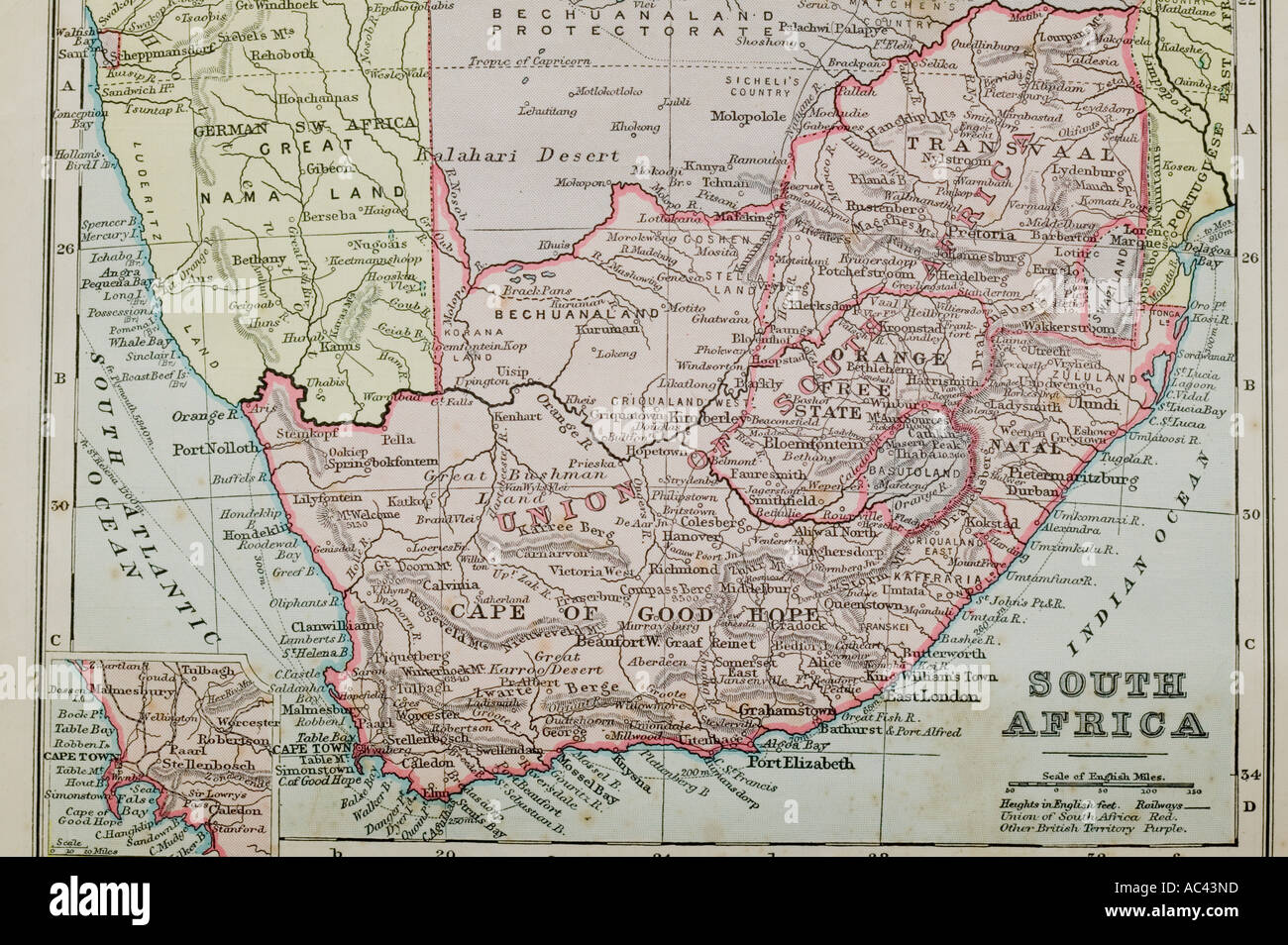 a 100 year old map of South Africa showing old boundaries Stock Photo