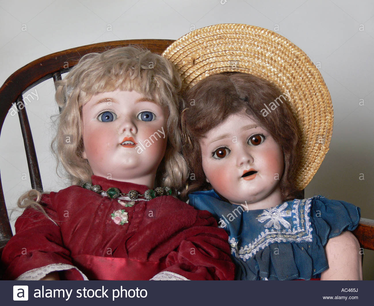 portrait of 2 Victorian Dolls - Stock Image