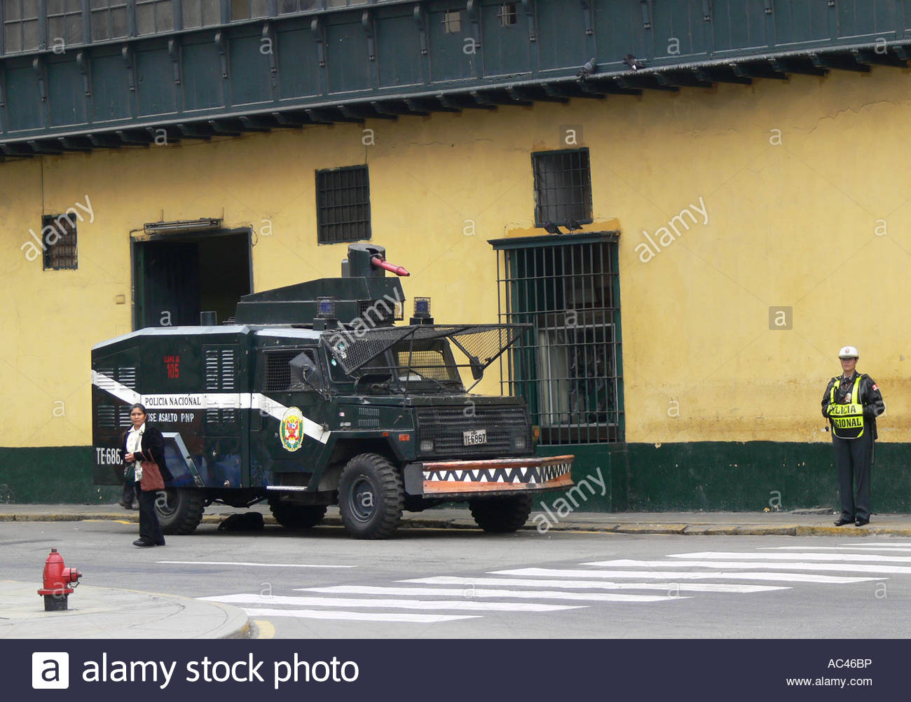 water cannon in Lima, Peru - Stock Image