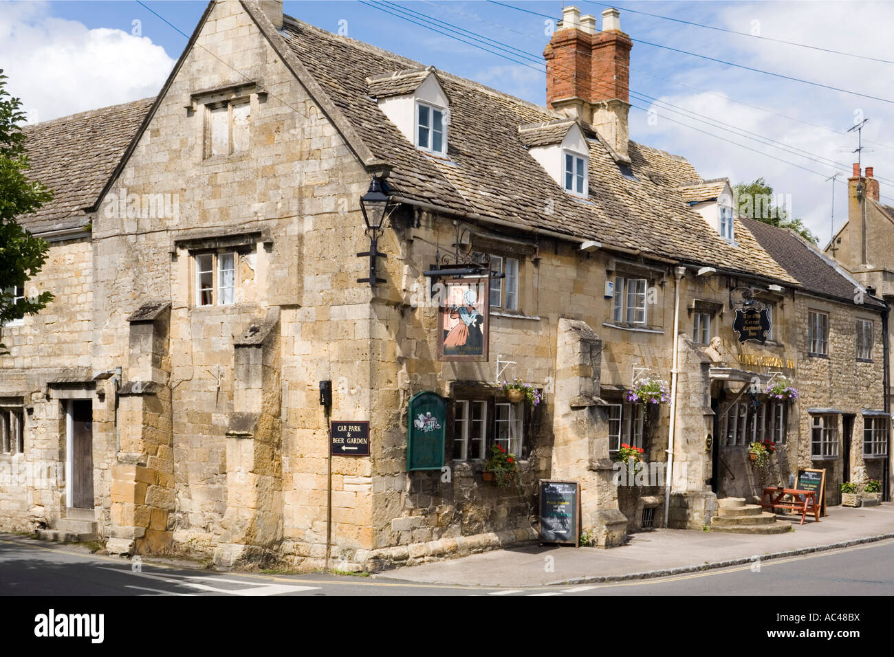 The Old Corner Cupboard Inn in the Cotswold town of Winchcombe Gloucestershire - Stock Image