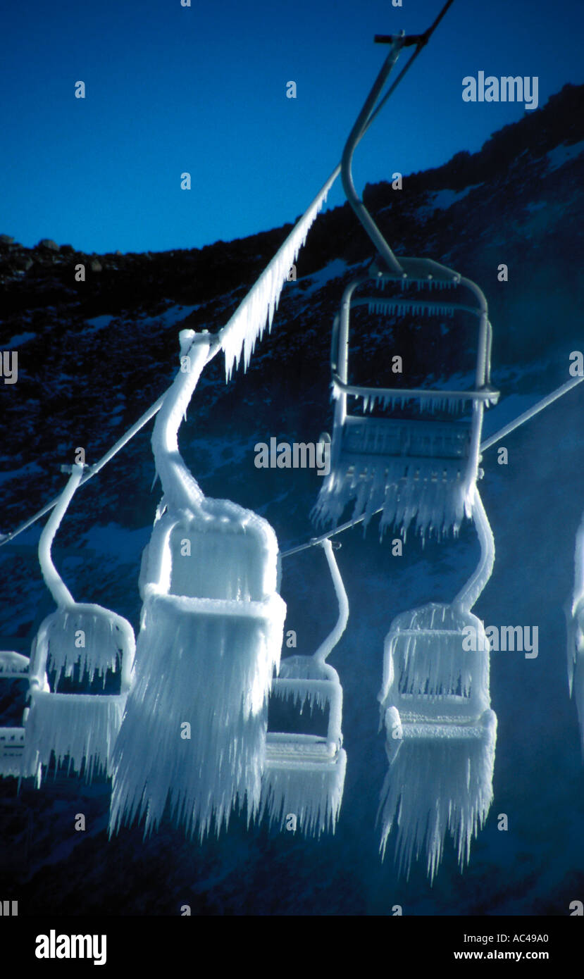 Ghostly image of frozen chairlift Stock Photo