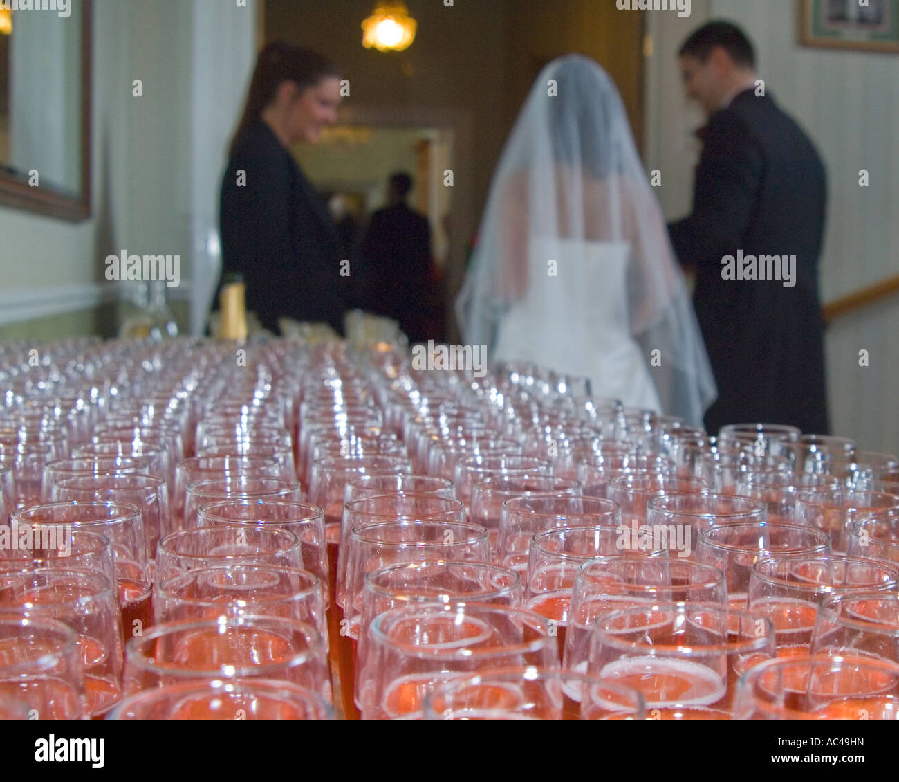beyond the champaign glasses - Stock Image