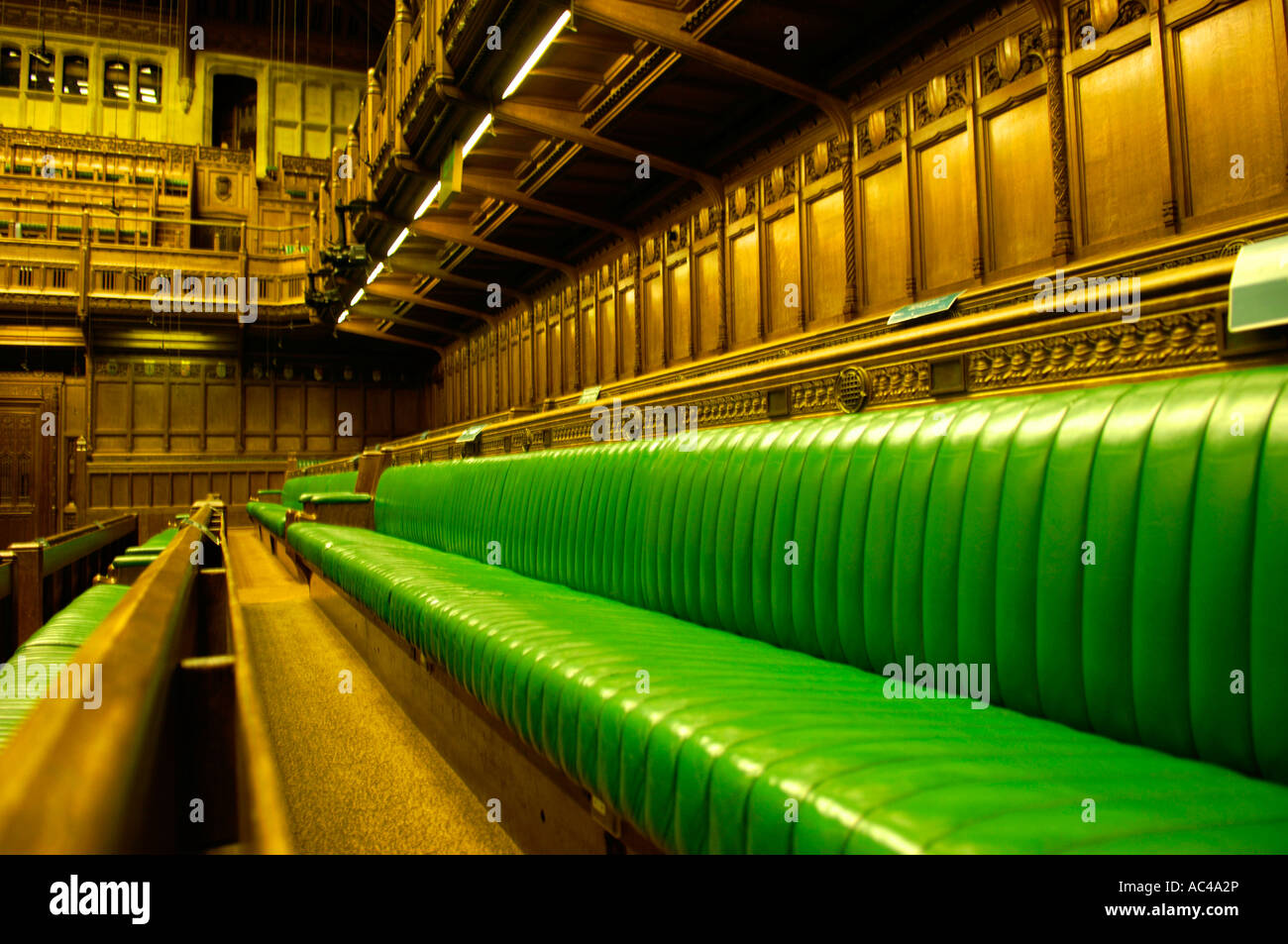 Empty backbenches UK Parliament Stock Photo