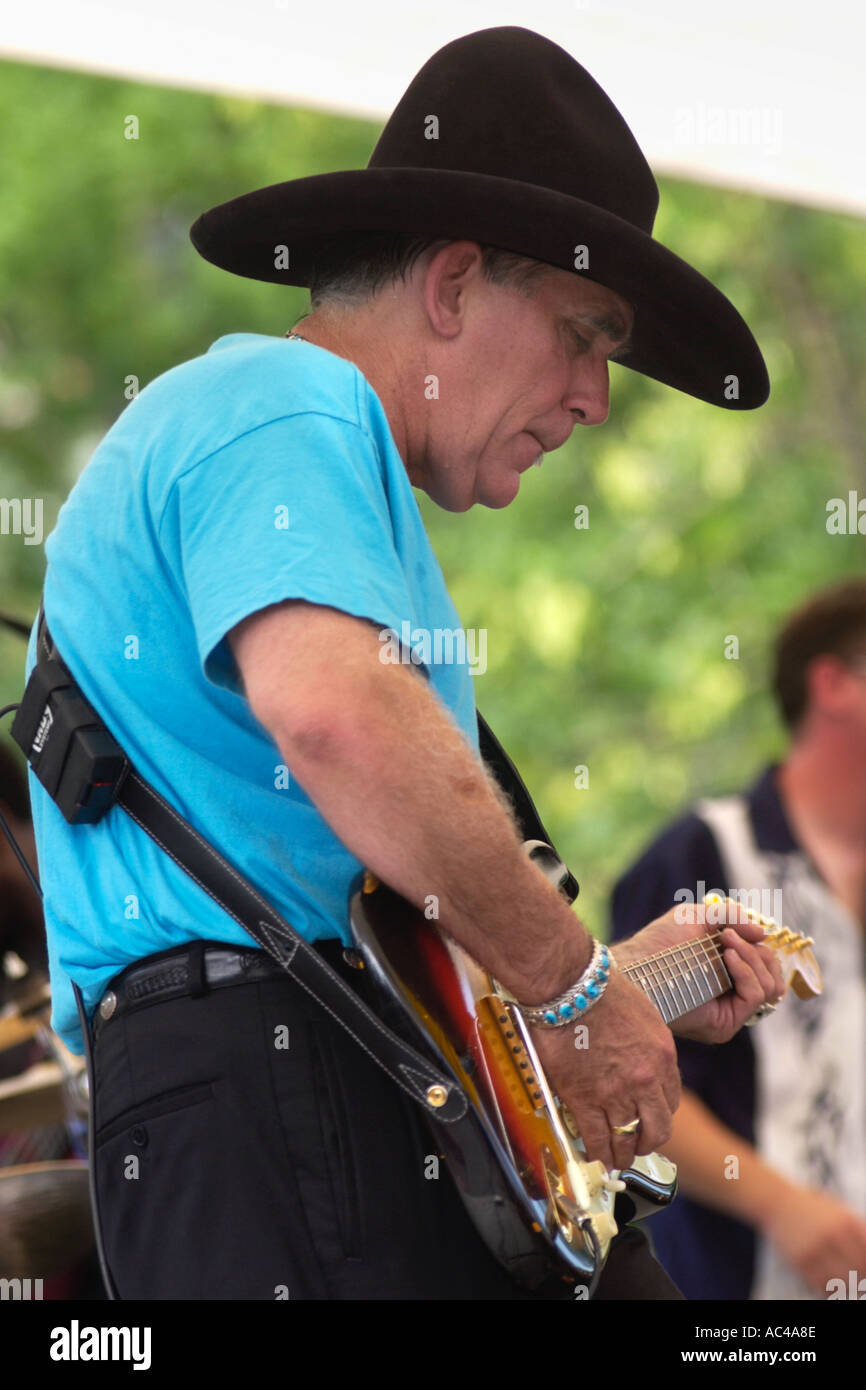 Texas blues guitarist Lightnin' Willie performing with the Poorboys at the annual Brecon Jazz Festival Powys Wales Stock Photo