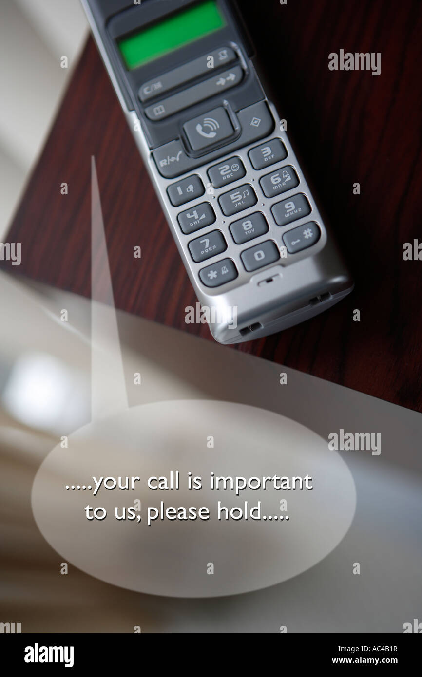 Telephone with speech bubble indicating Call Centre Delays - Stock Image