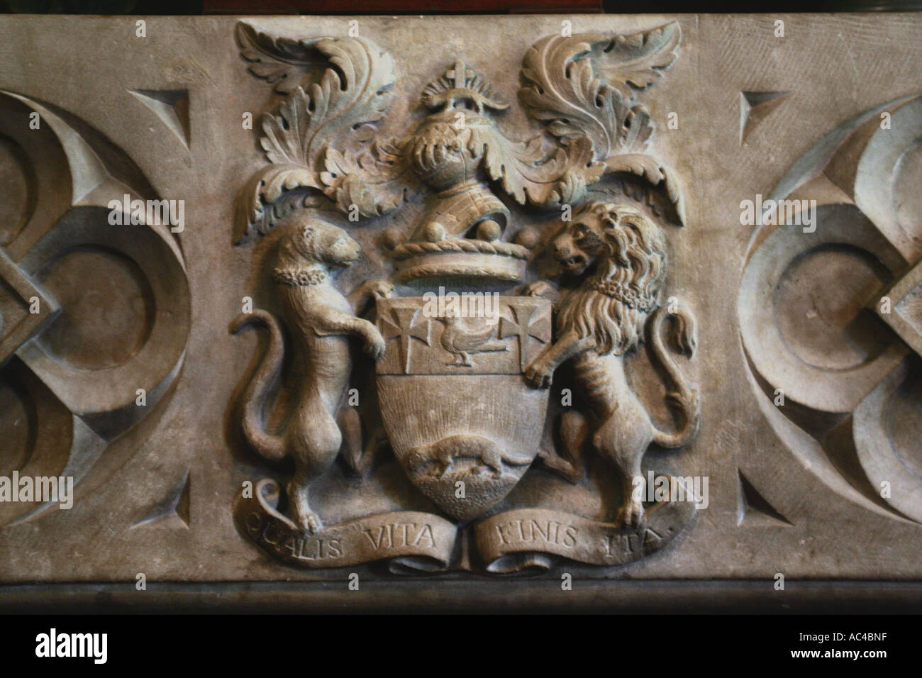 The Coleridge family crest at The Chanter's House, Ottery St Mary in Devon UK - Stock Image