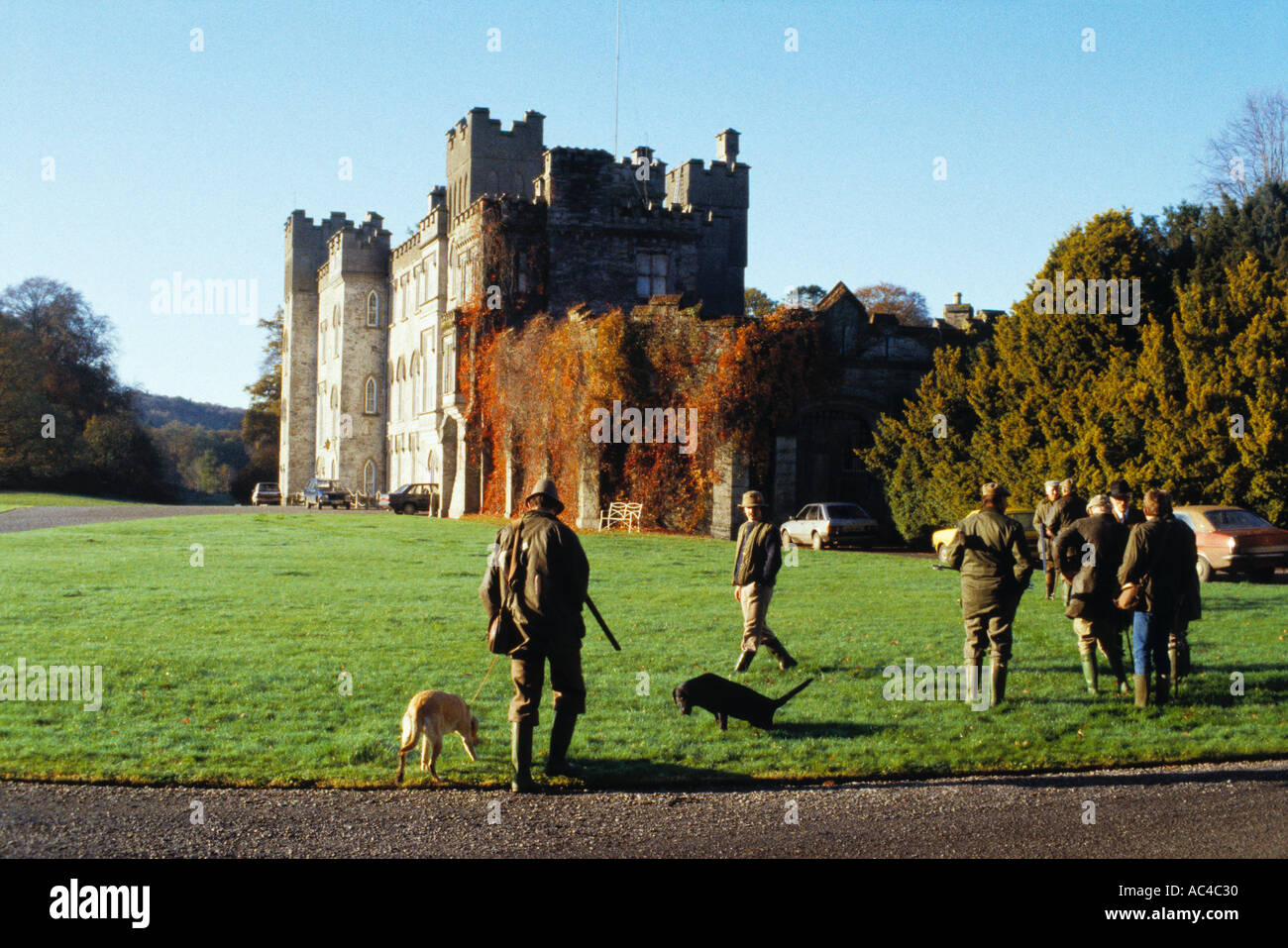 The guns returning for lunch at a driven game shoot on an estate in Ireland - Stock Image