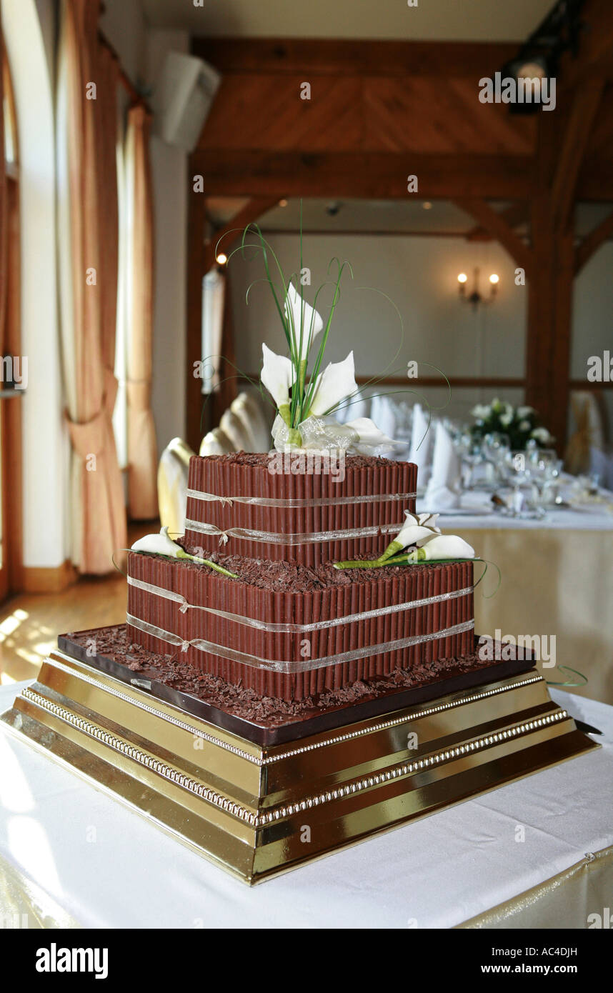 A Non Traditional Brown Chocolate Covered Wedding Cake Awaits A