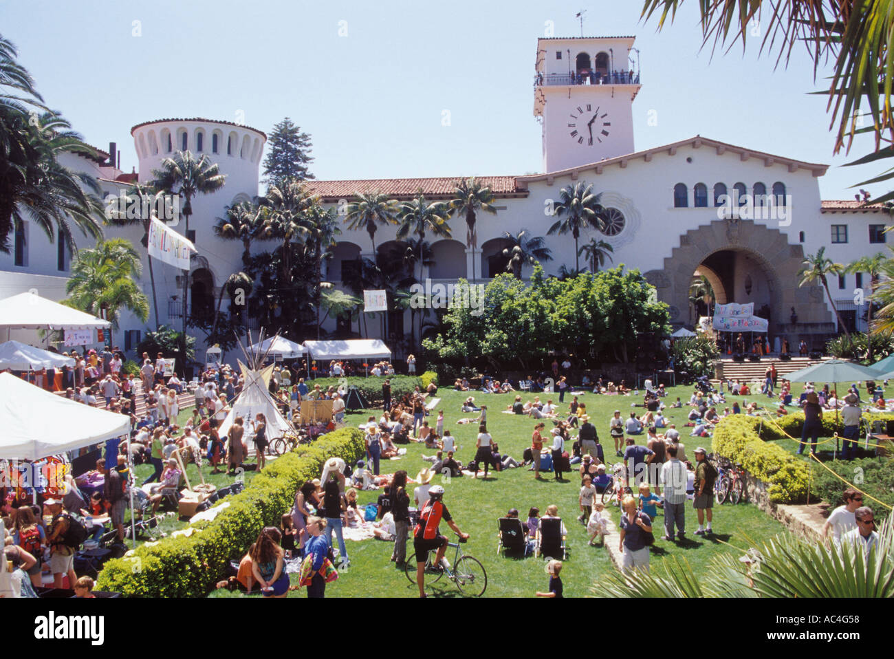 Earth Day Festival at the Court House Gardens, Santa Barbara Courthouse, Santa Barbara, California - Stock Image
