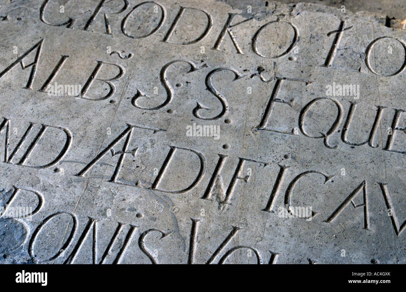 Old inscription on stone - Stock Image