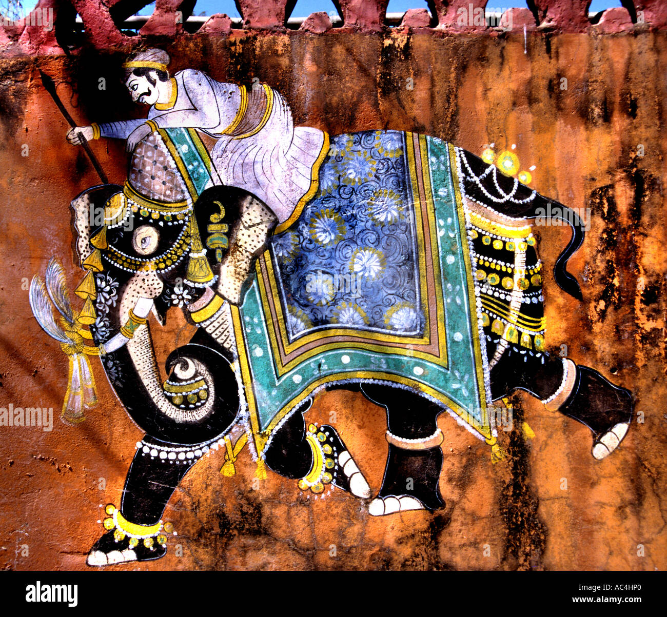 India Rajasthan painting, wall, painting, fresco, art, depiction, picture, portrayal - Stock Image