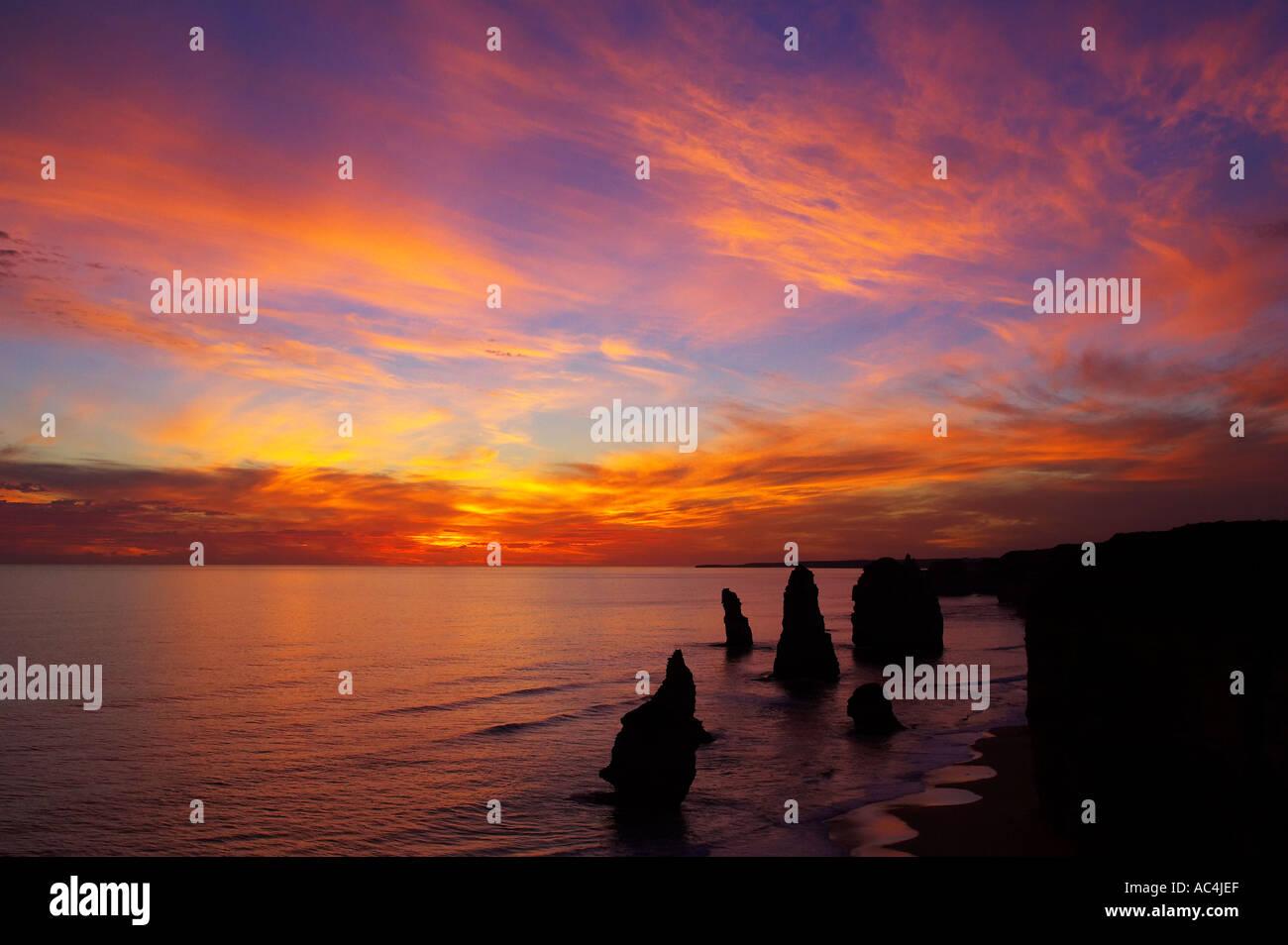Sunset Twelve Apostles Port Campbell National Park Great Ocean Road Victoria Australia - Stock Image