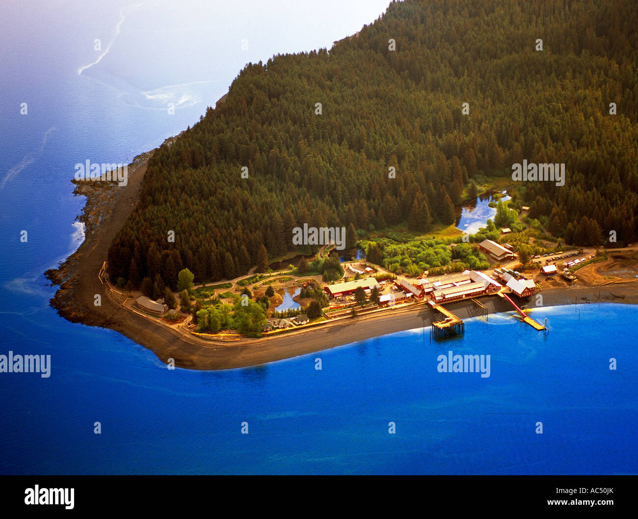 An aerial view of Icy Strait Point - Stock Image