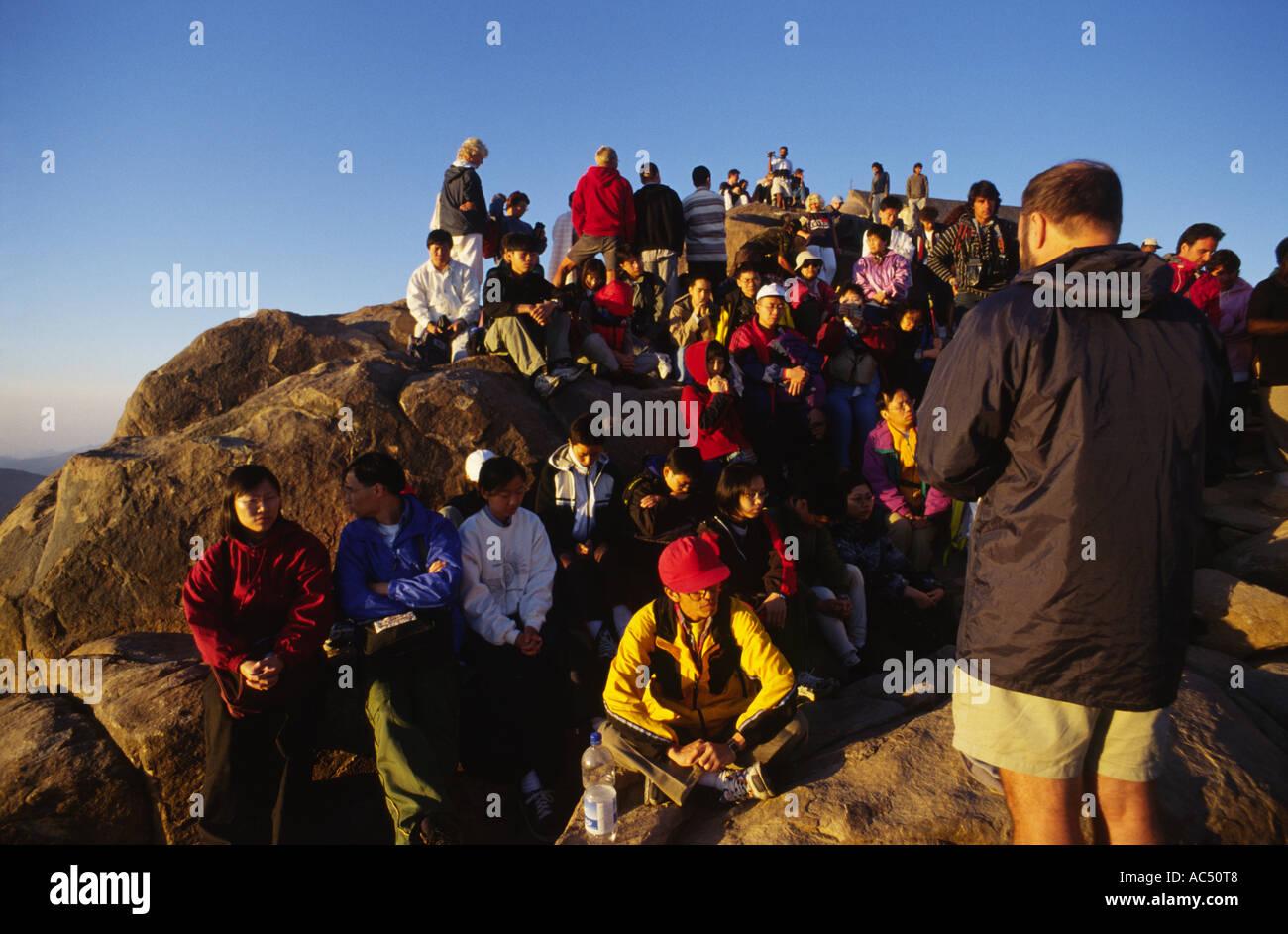 Pilgrims on the top of Mt Sinai Egypt - Stock Image
