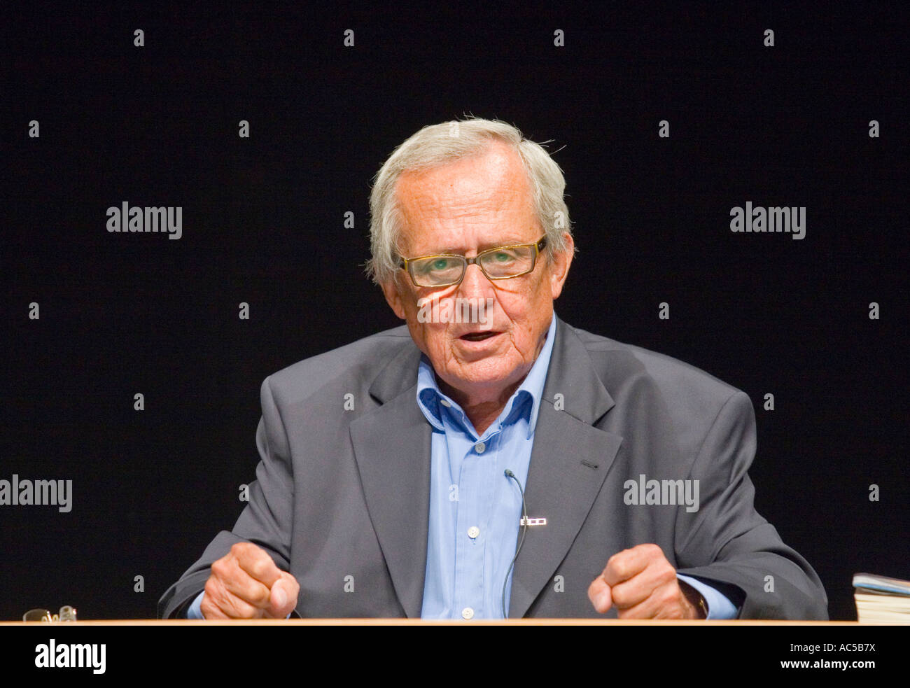Renowned German cabaret artist Dieter Hildebrandt, who just turned 80 years, performing his latest presentation - Stock Image