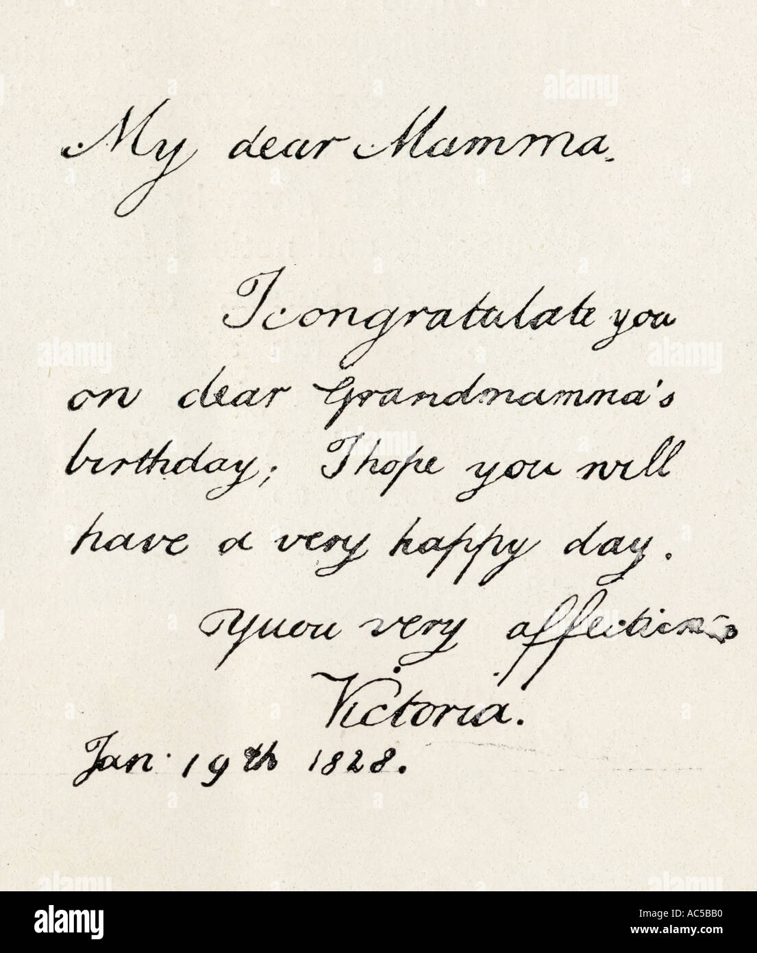 A letter written by the Princess Victoria at the age of nine years to her mother - Stock Image