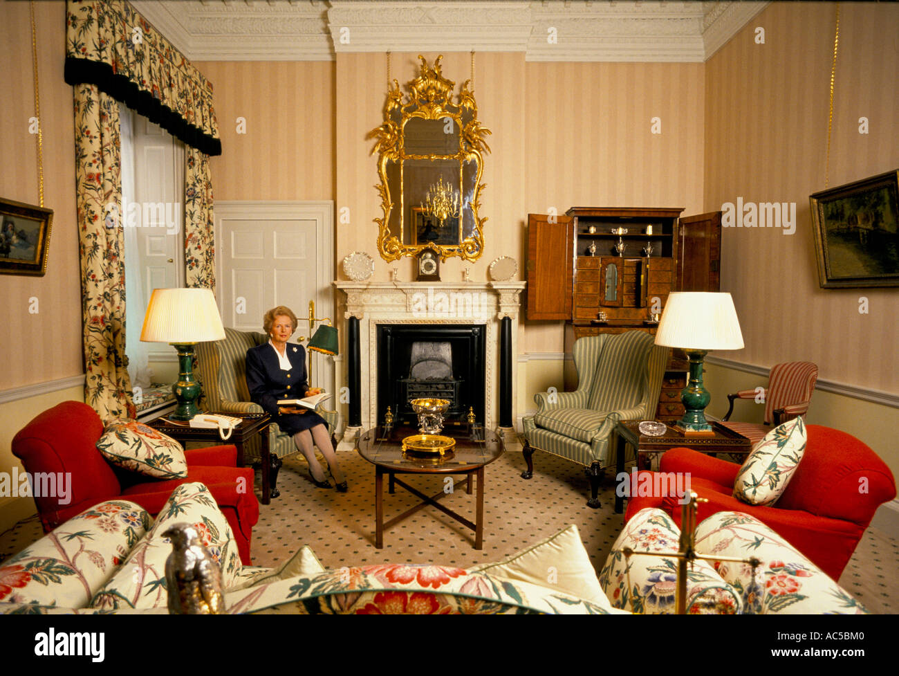 Margaret Thatcher Inside 10 Downing Street Reading A Book