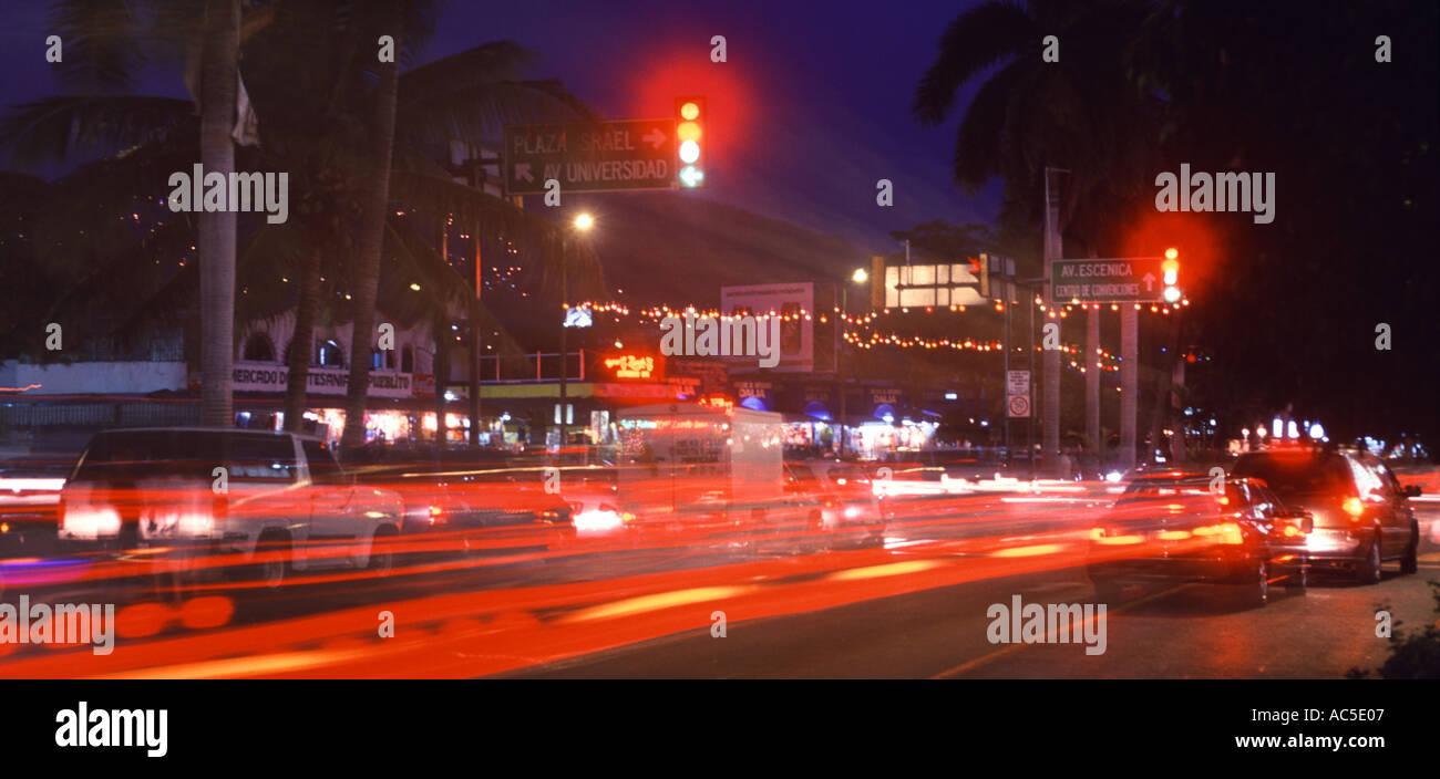 Acapulco Bay cars traffic motion nightlife Guerrero Hotel