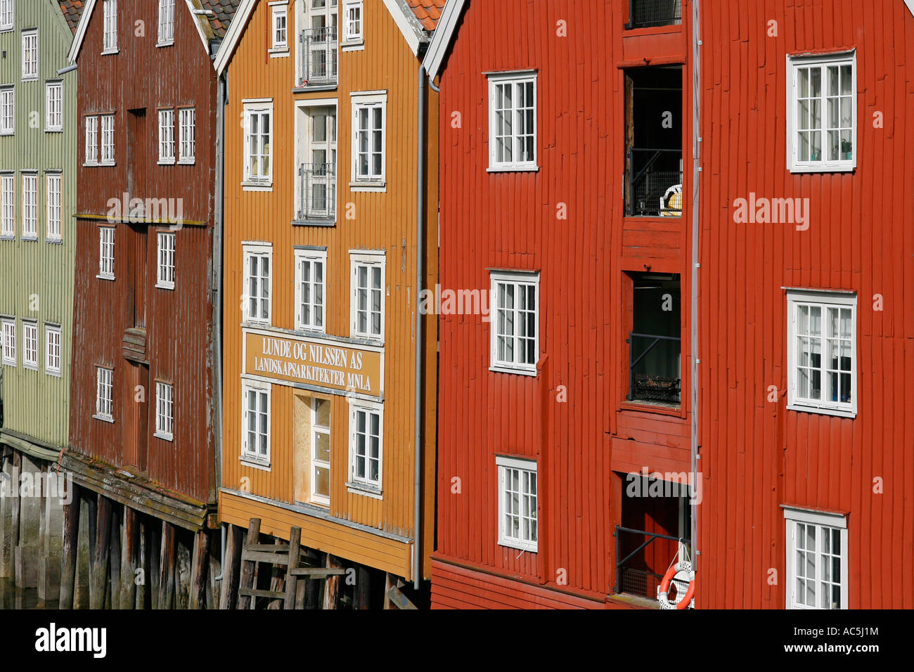 Bryggen Trondheim Norway Europe Stock Photo