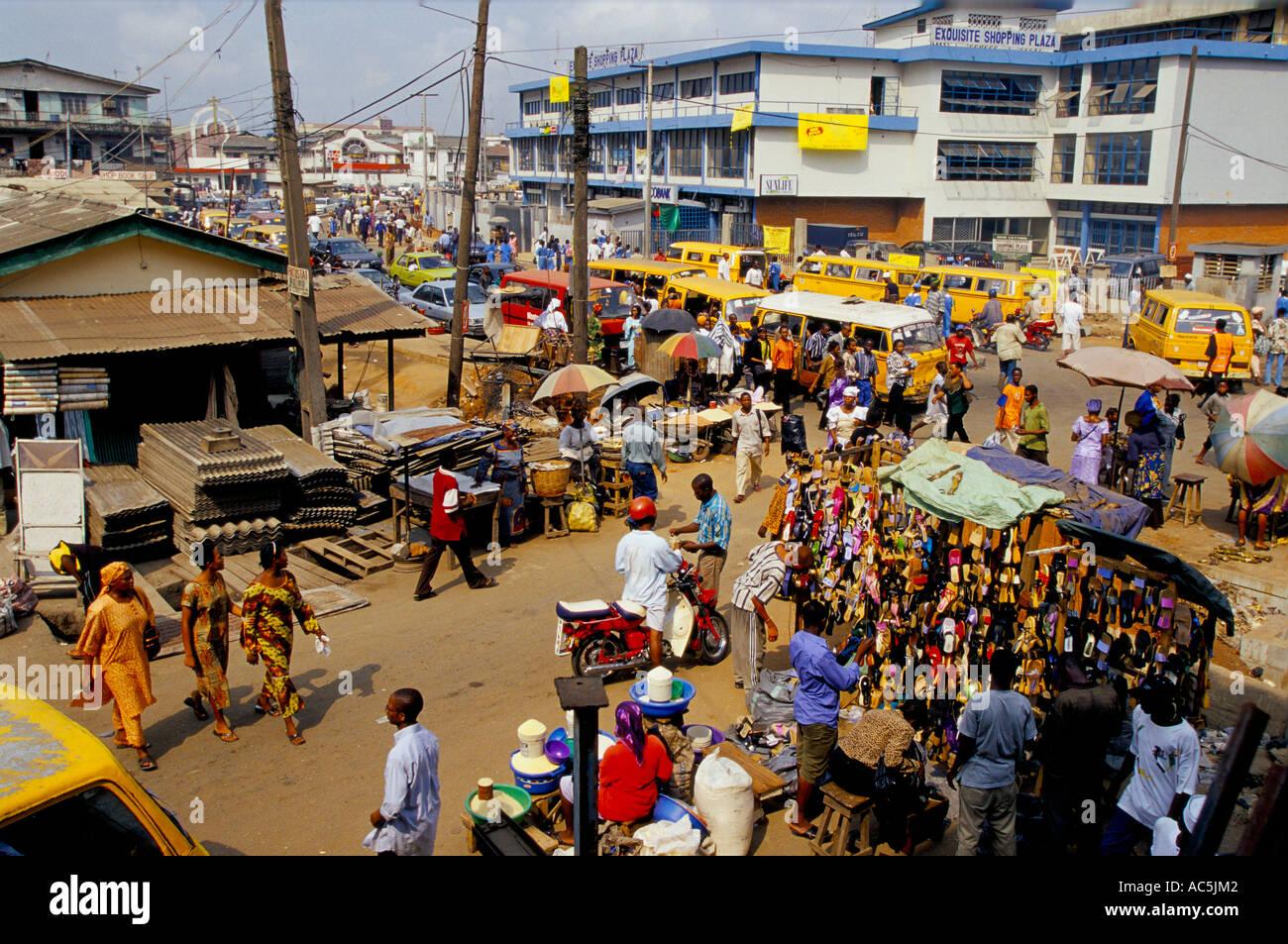 Lagos Market, Nigeria, market stalls - Stock Image