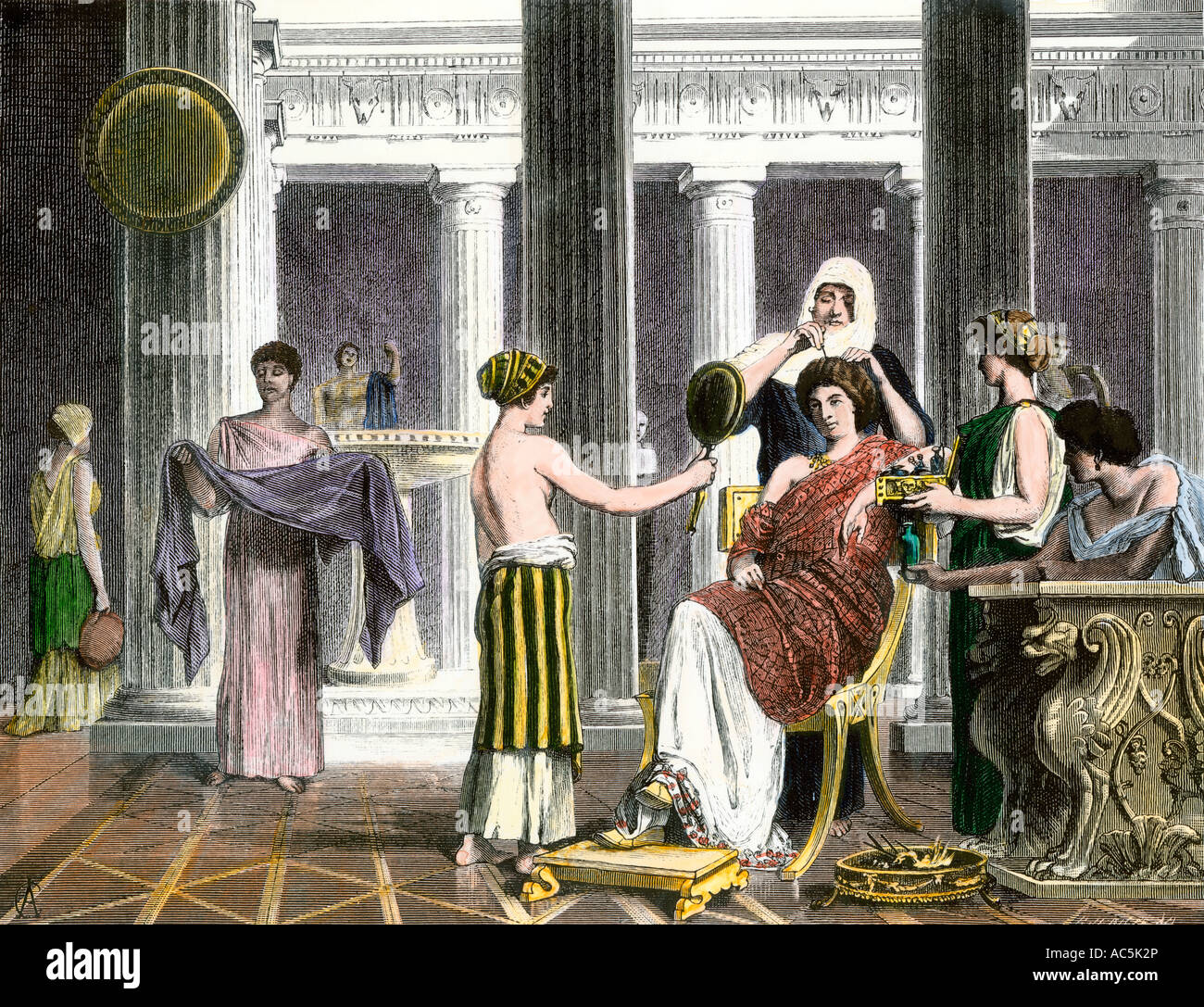 Roman lady being dressed and groomed by her servants. Hand-colored woodcut - Stock Image