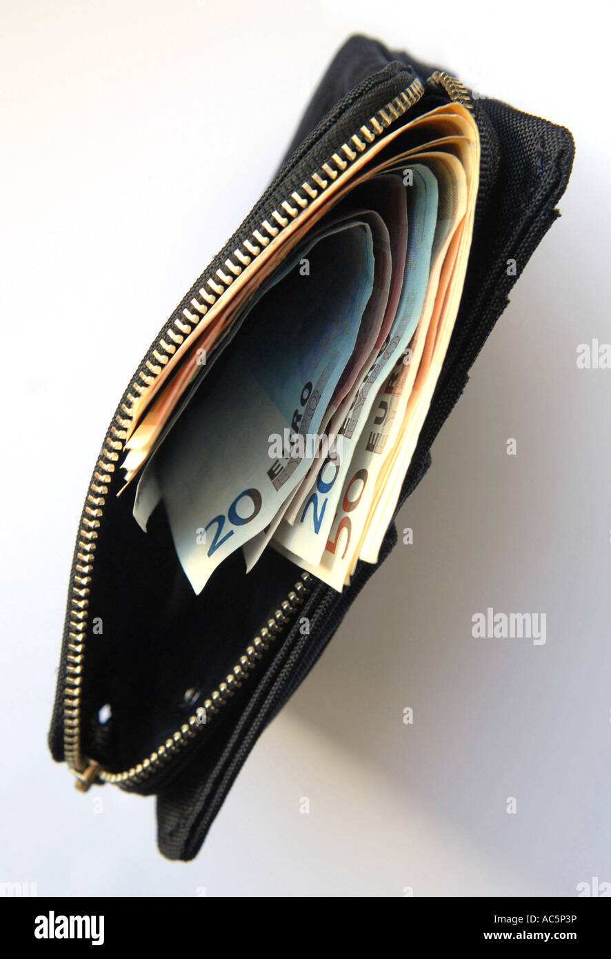 Purse with twenty and fifty euro banknotes close up - Stock Image