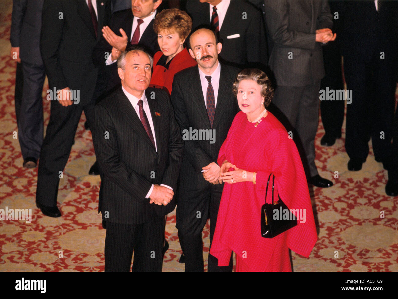 Queen Elizabeth The Second Queen Elizabeth Ii With Mikhail Raisa Gorbachev At Windsor