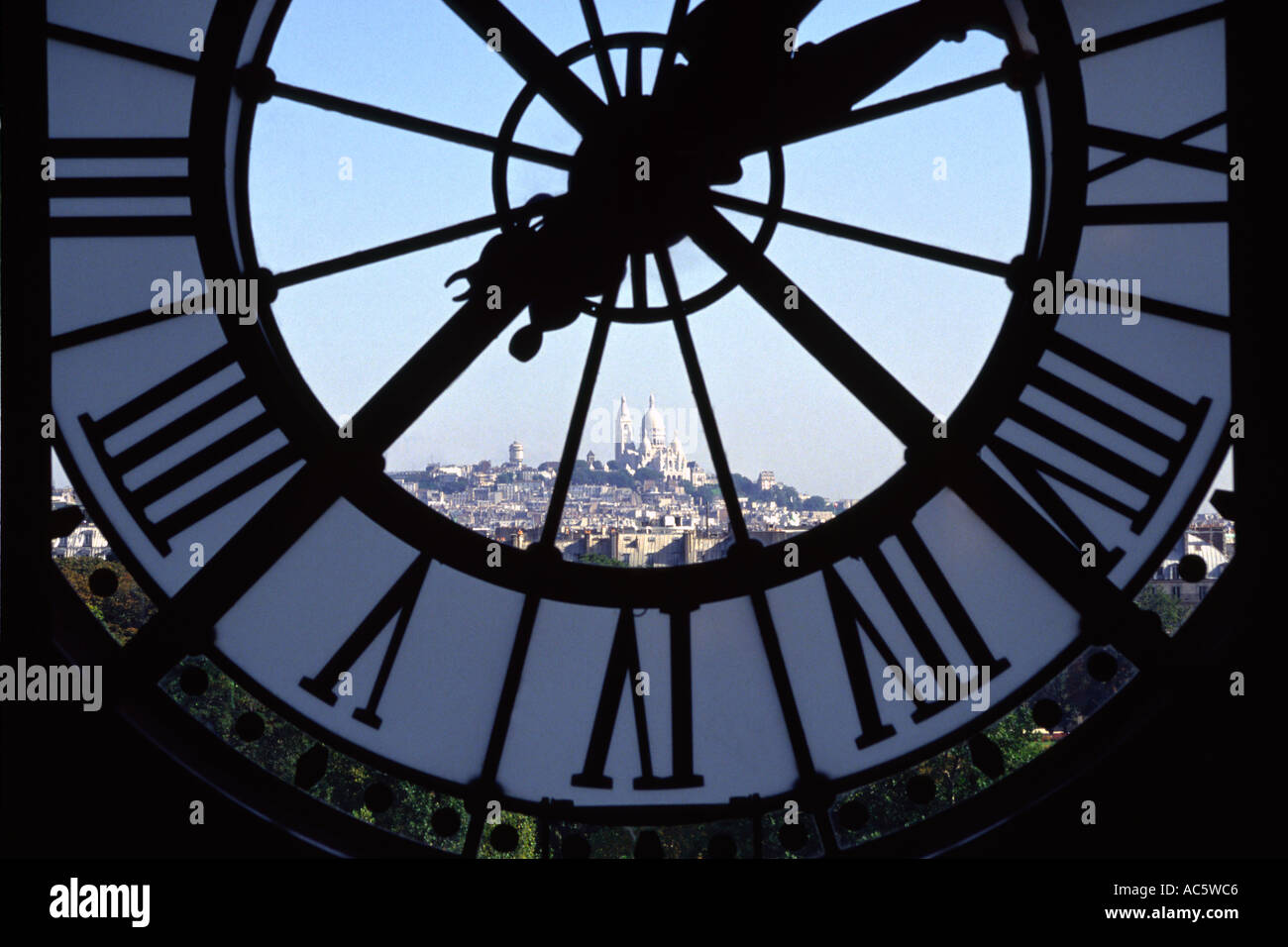 Musee D Orsay clock window overlooking Sacre Coeur in Paris France Architectural Feature Clock France Indoors International Land - Stock Image