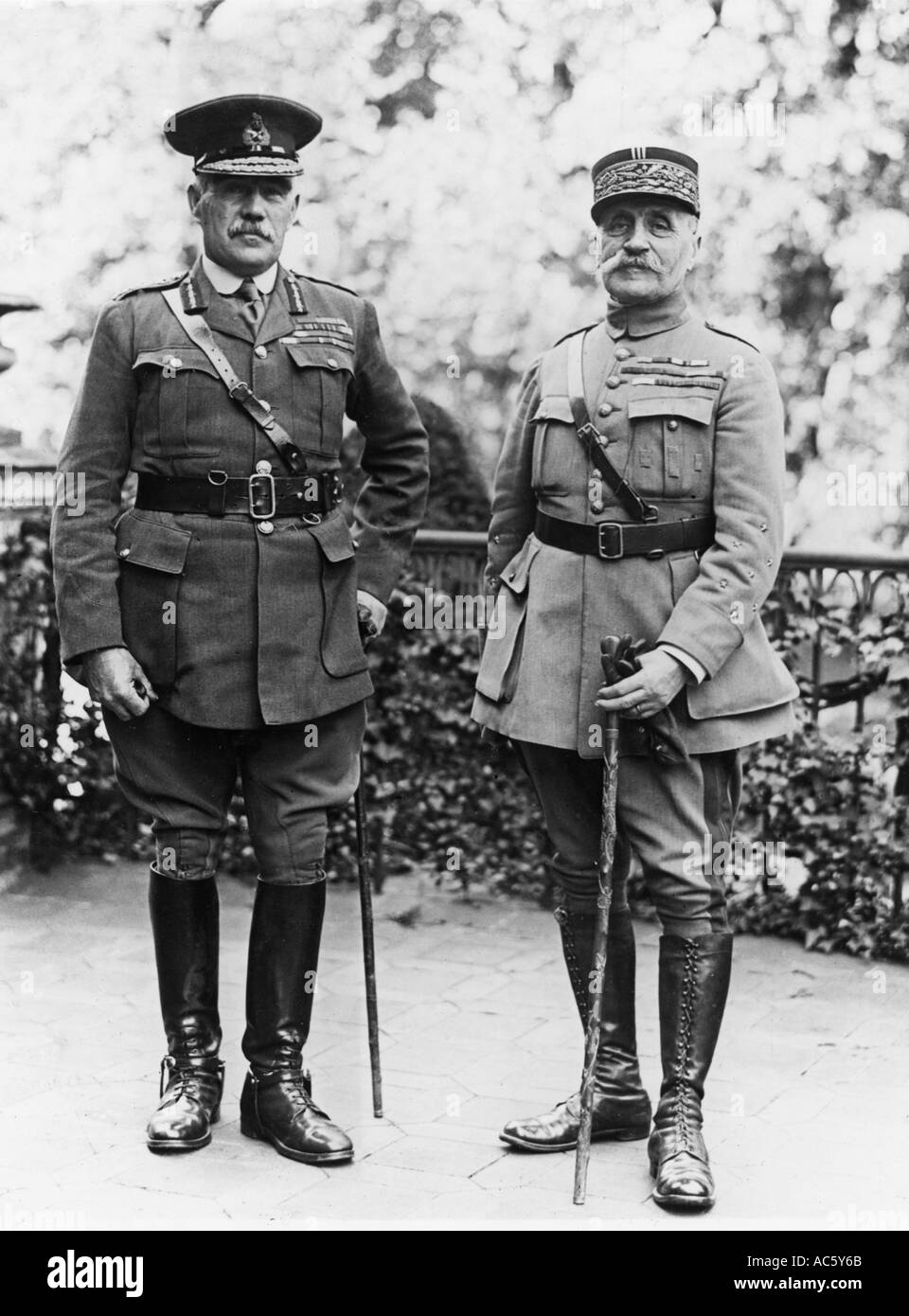 SIR WILLIAM ROBERTSON British General at left with French Marshal Foch in Cologne towards the end of WW1 - Stock Image