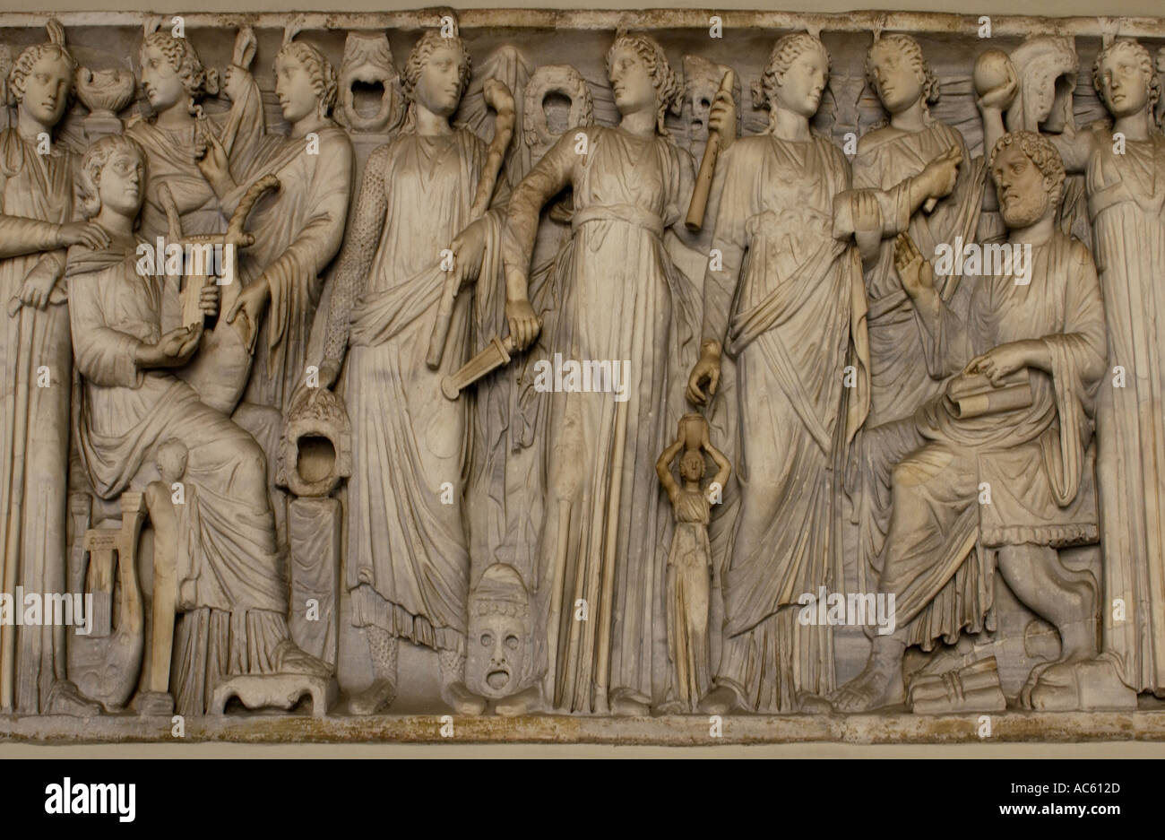 Roman artwork at the Roman Forum in Rome, Italy - Stock Image