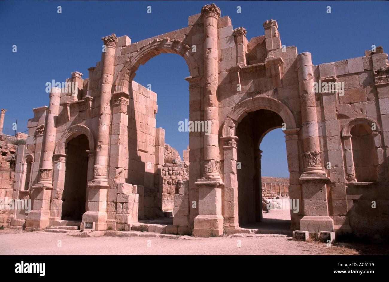 Triumphal Arch in Jerash Jordan - Stock Image