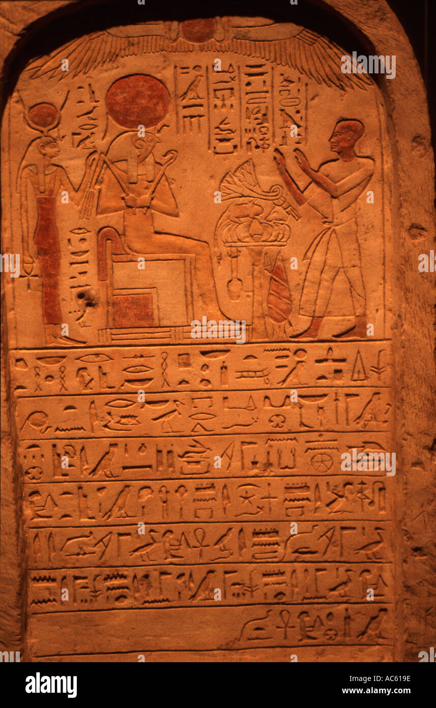 Hieroglyphs in the Valley of the Kings in Luxor Egypt - Stock Image