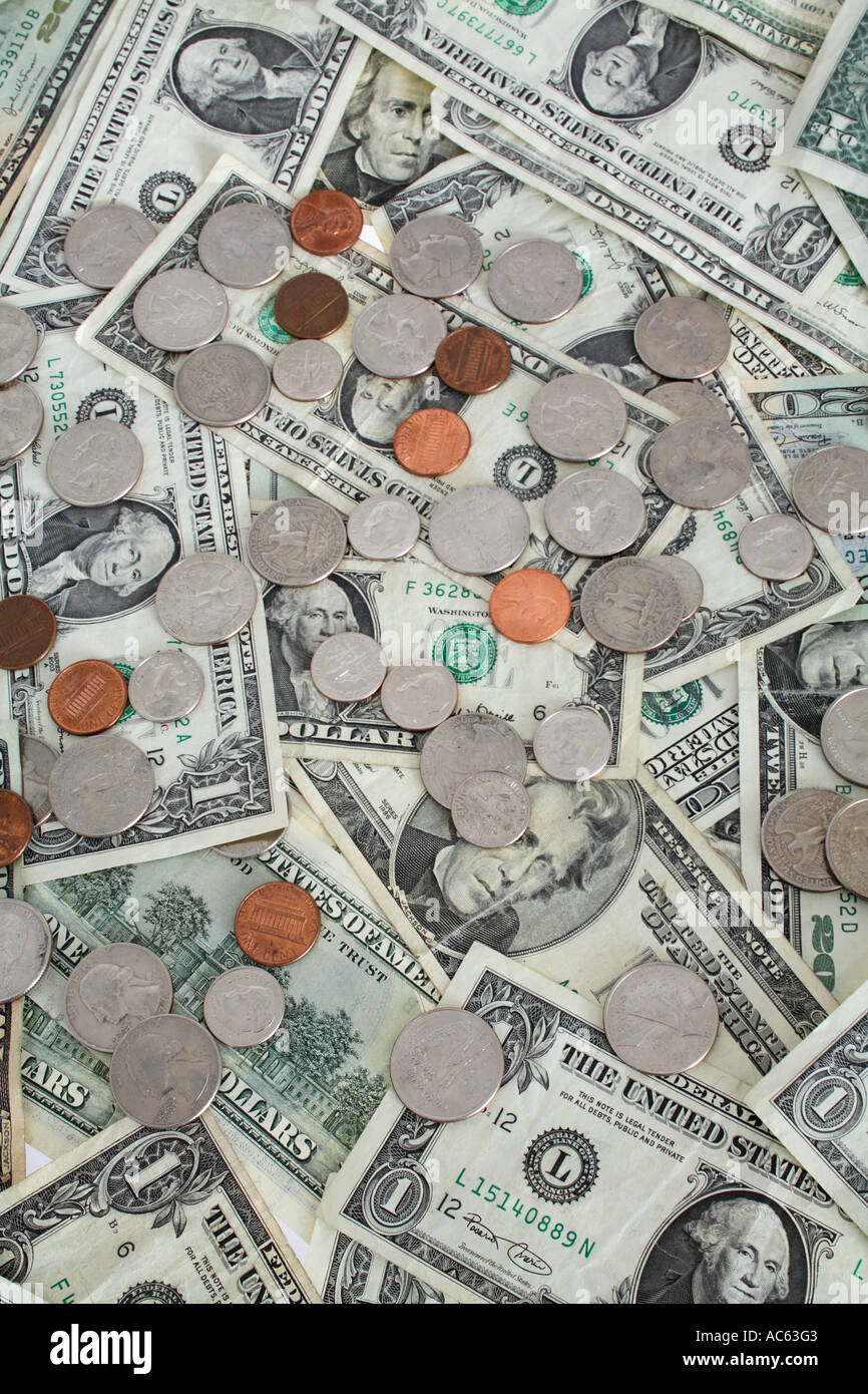 Background Of Cash And Coins Stock Photo Alamy