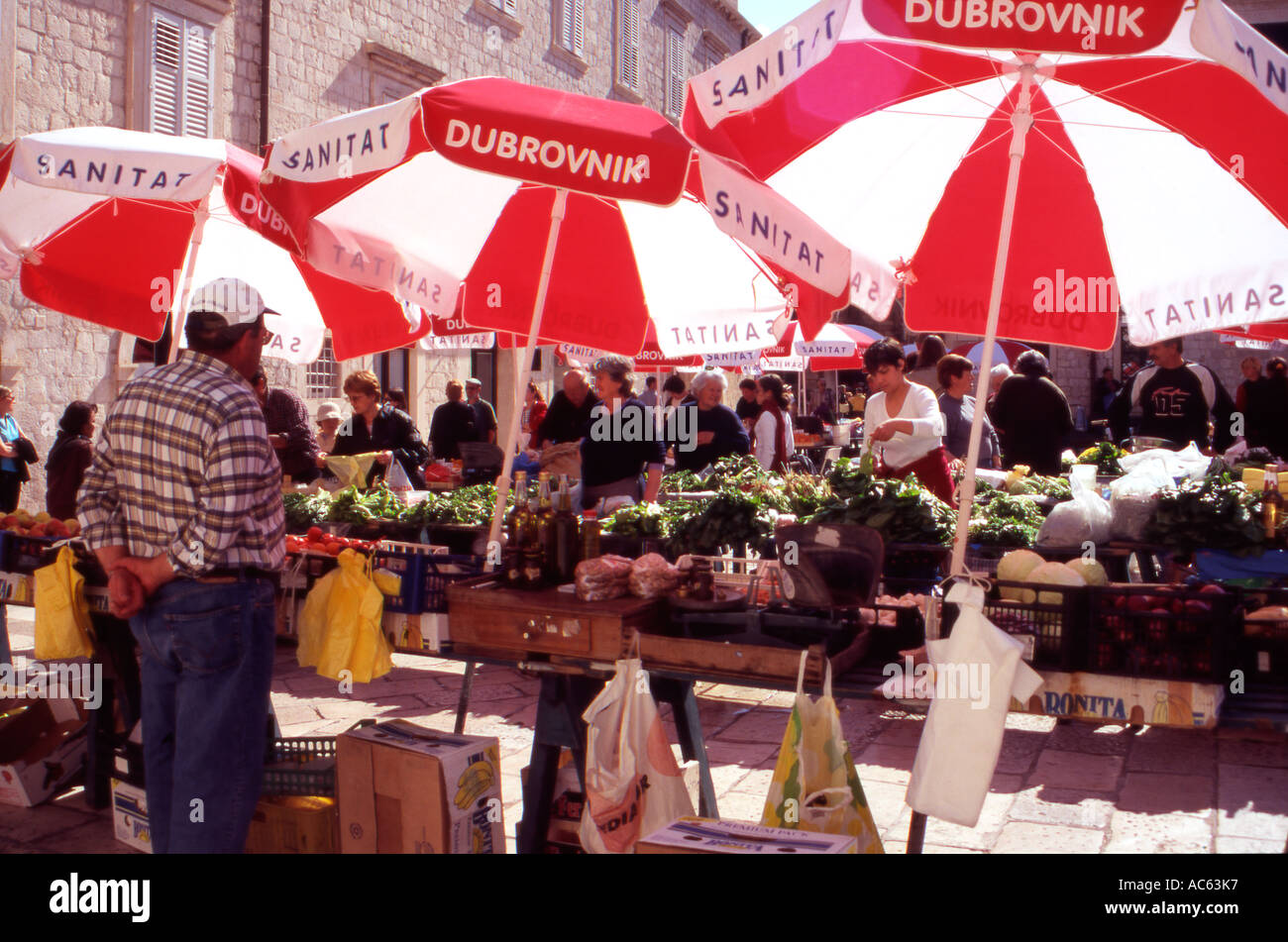 The busy open air market in Gundulic Square Dubrovnik Old City Croatia - Stock Image