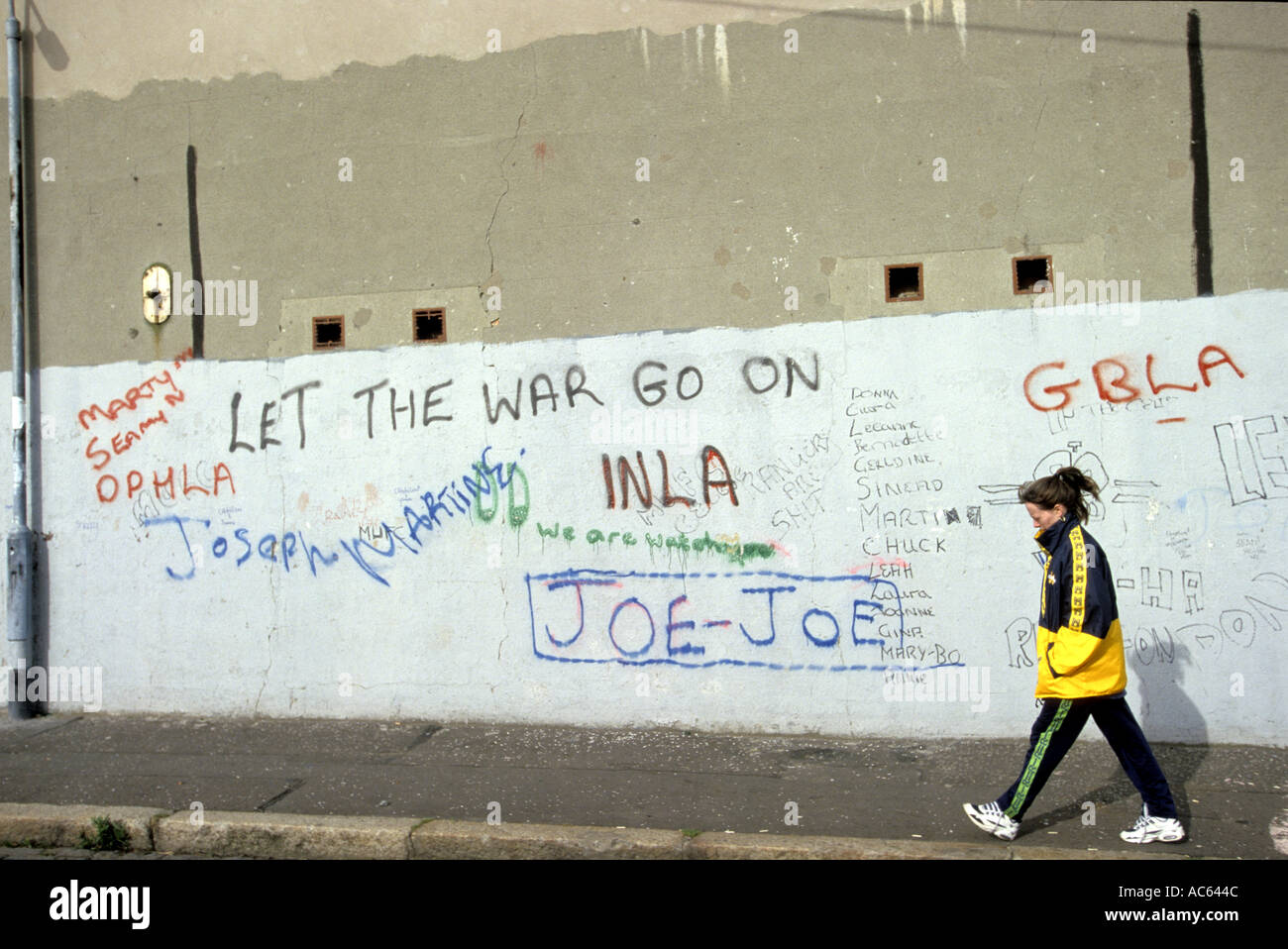Graffitti painted by the Catholic community in Belfast Northern Ireland - Stock Image