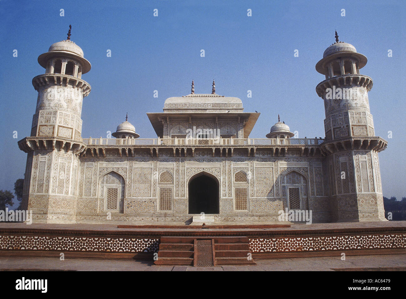 The Itmad-ud-daulah tomb stands in the centre of a grand Persian garden, an architectural gem of its times. Agra, Stock Photo