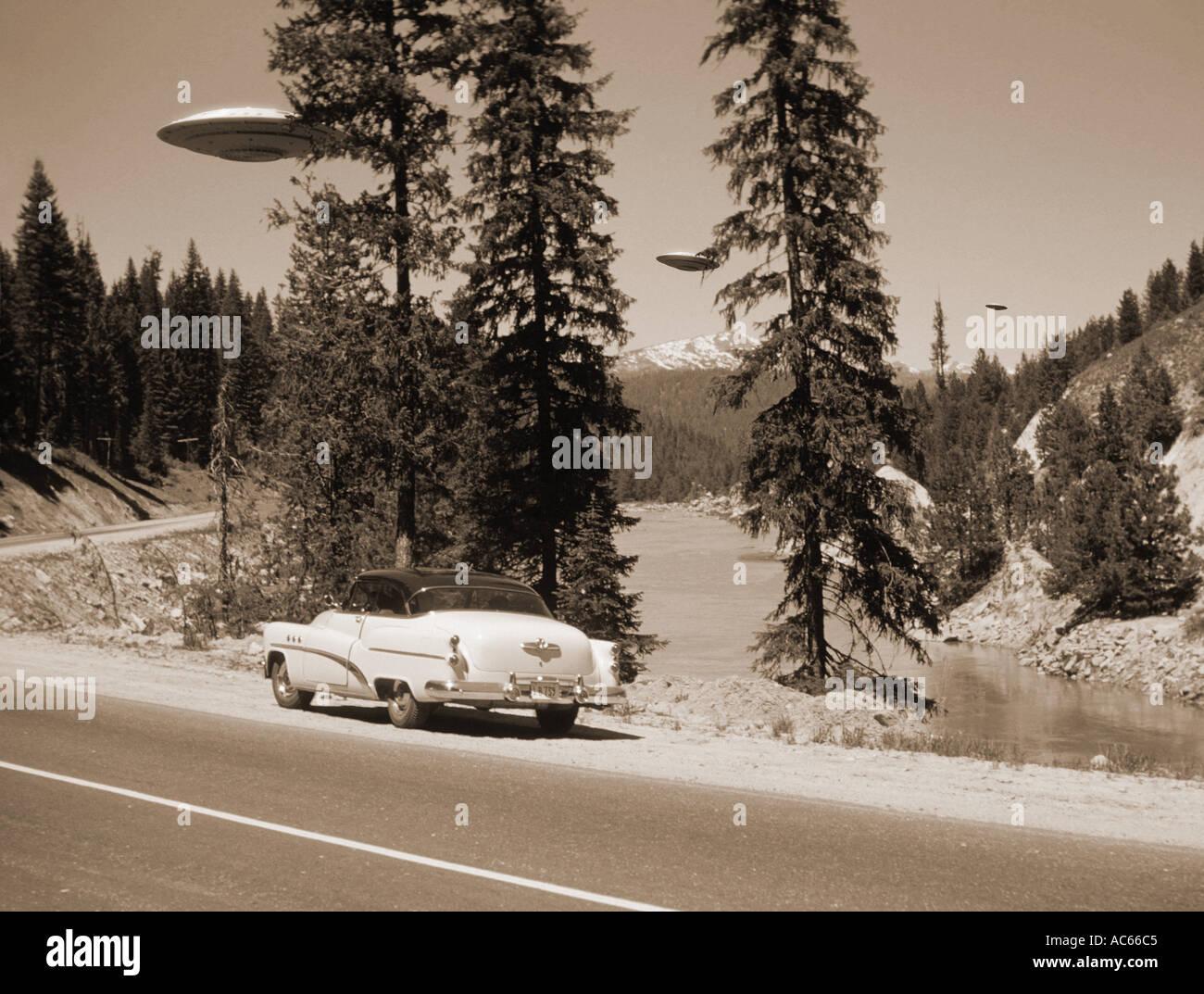 Vintage UFO sighting Idaho USA - Stock Image