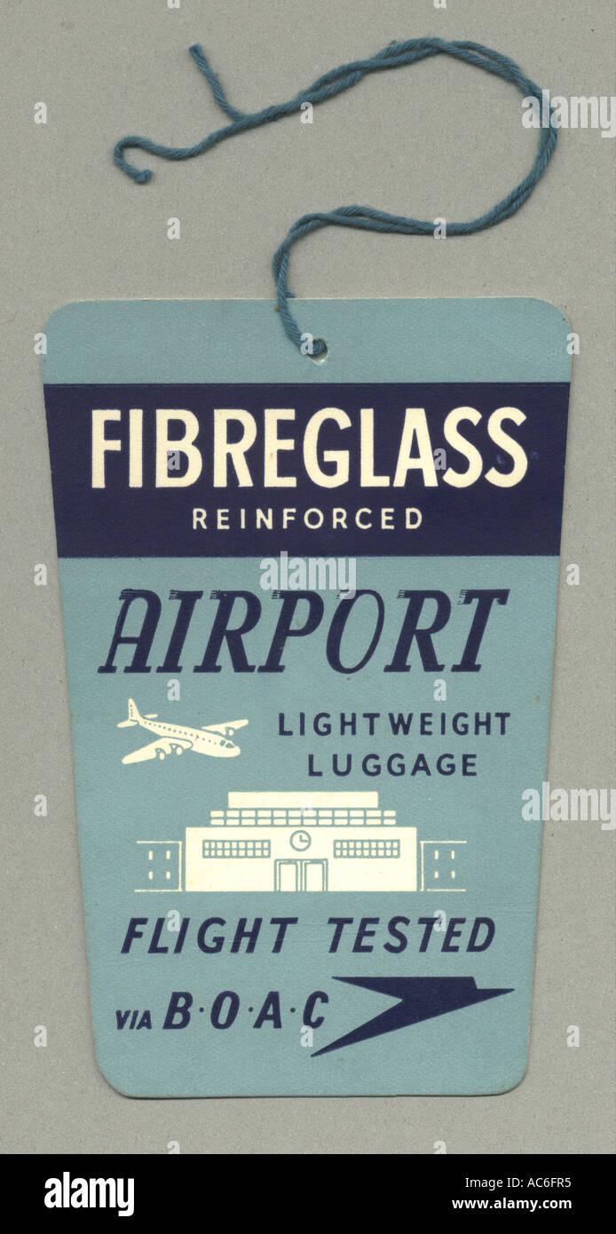Swing label for lightweight fibreglass luggage circa 1970 - Stock Image