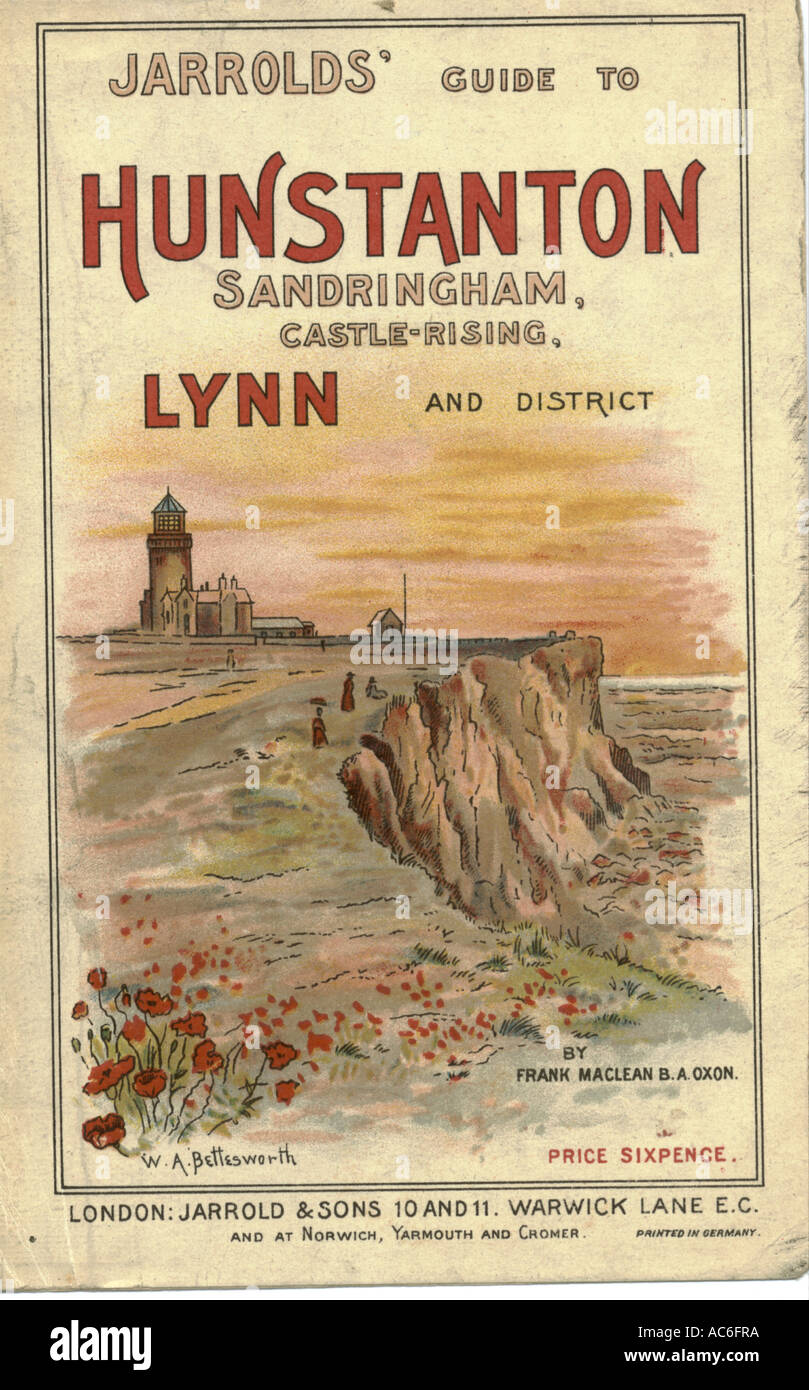 Chromolithographed cover to Jarrolds' Guide to Hunstanton, Norfolk circa 1890 - Stock Image