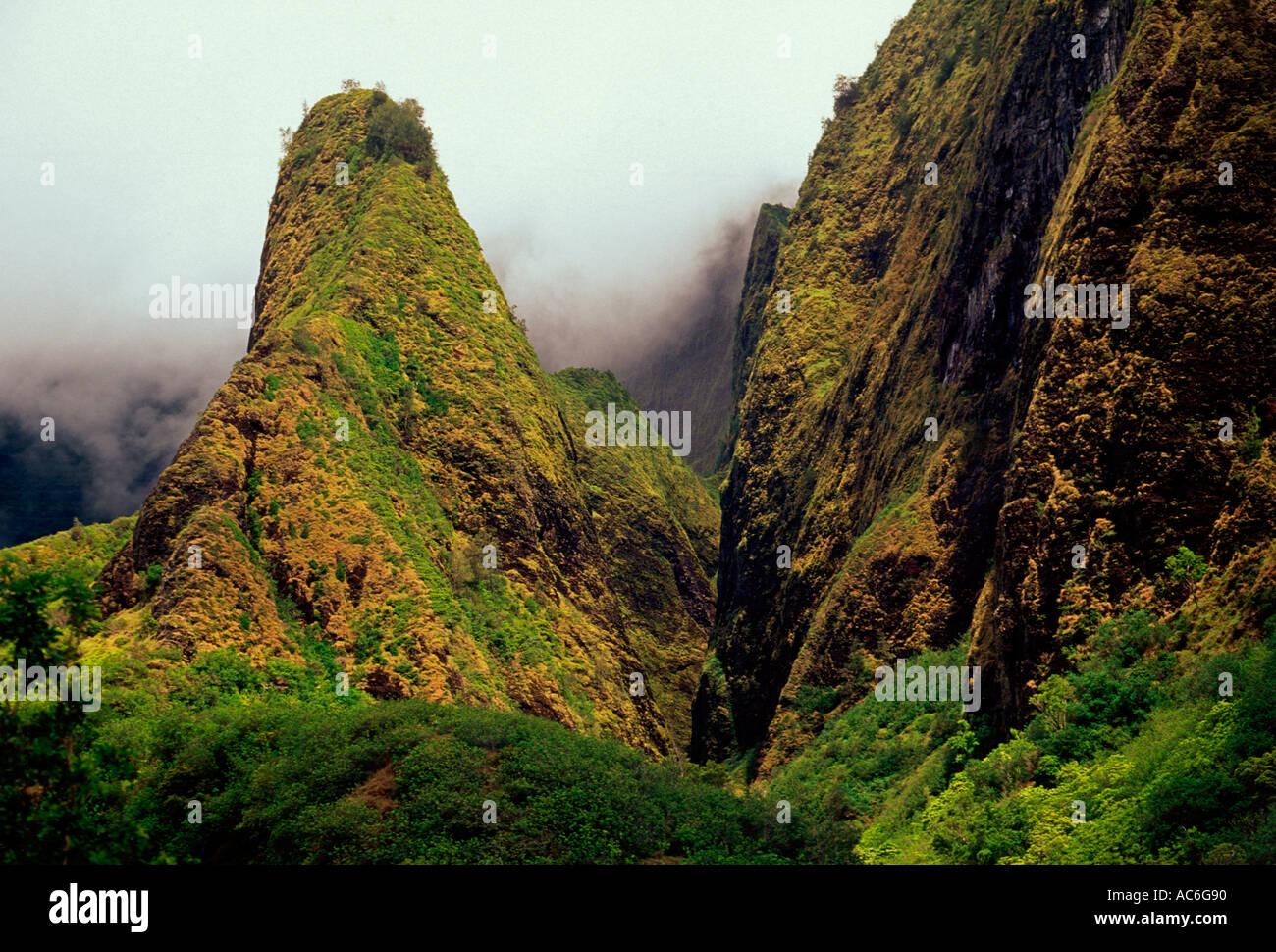 Iao Needle, Iao Valley, Iao Valley State Park, State Park, Maui Island, Maui, Hawaii - Stock Image