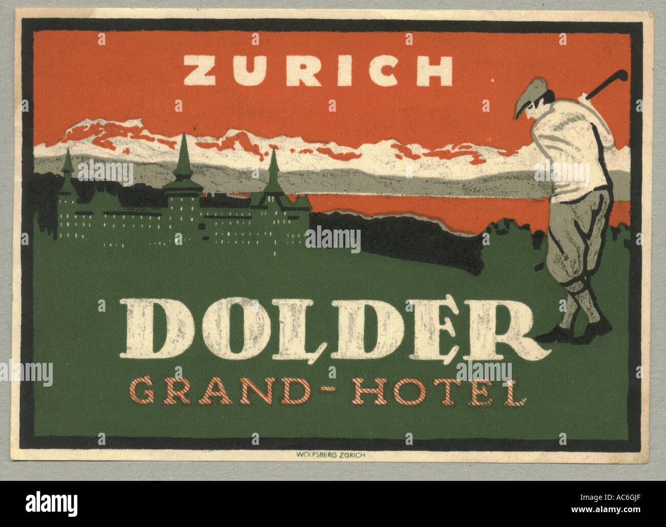 ZURICH SWITZERLAND CITY HOTEL VINTAGE LUGGAGE LABEL